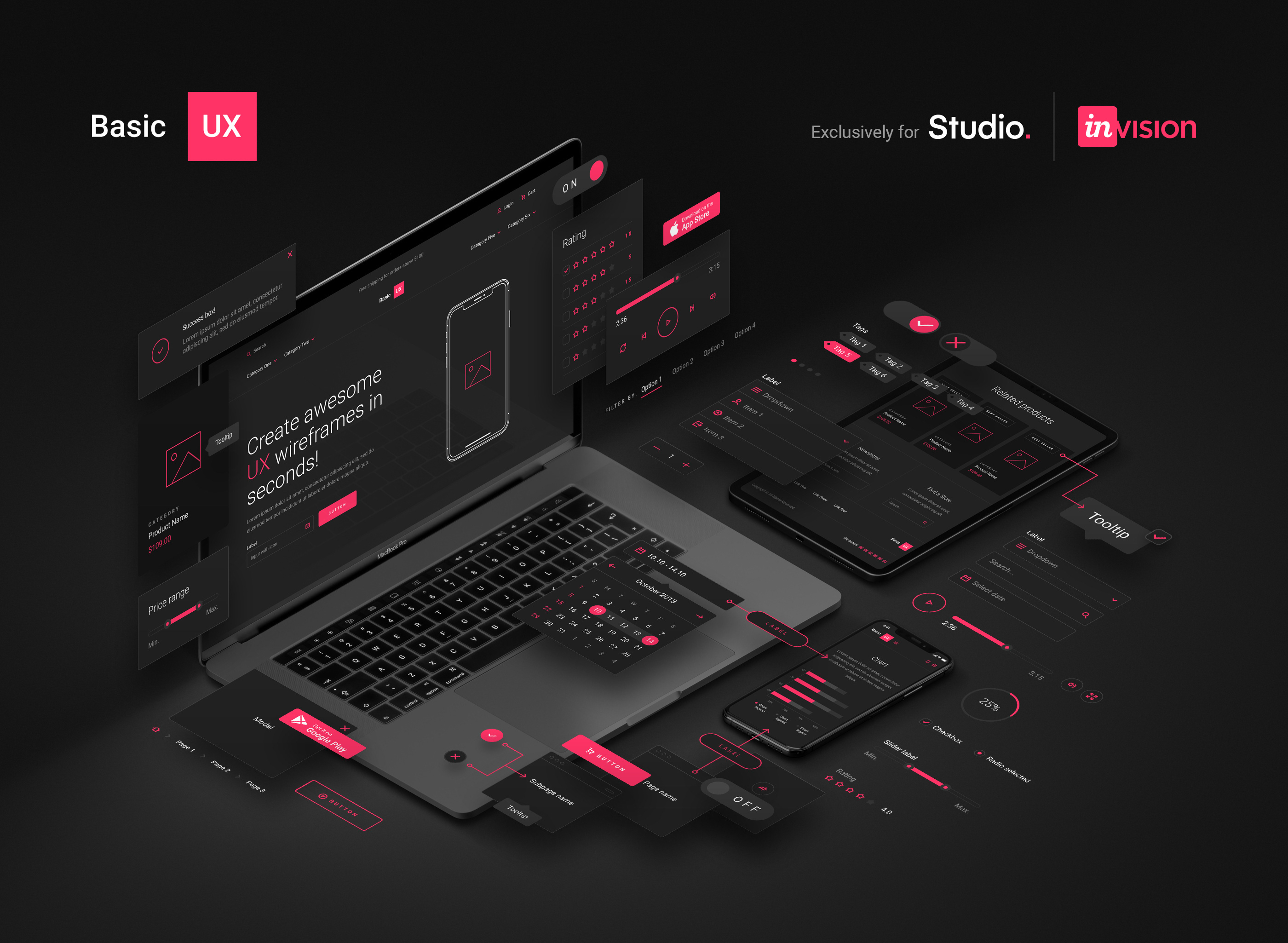 Basic UX for Invision Studio - The final deliverable was a family of 4 products that you can download and use for free. Just download InVision Studio, open their App Store and search for 128 Outline Icons, eCommerce Wireframe Kit, User Interface Kit and Web Wireframe Kit.