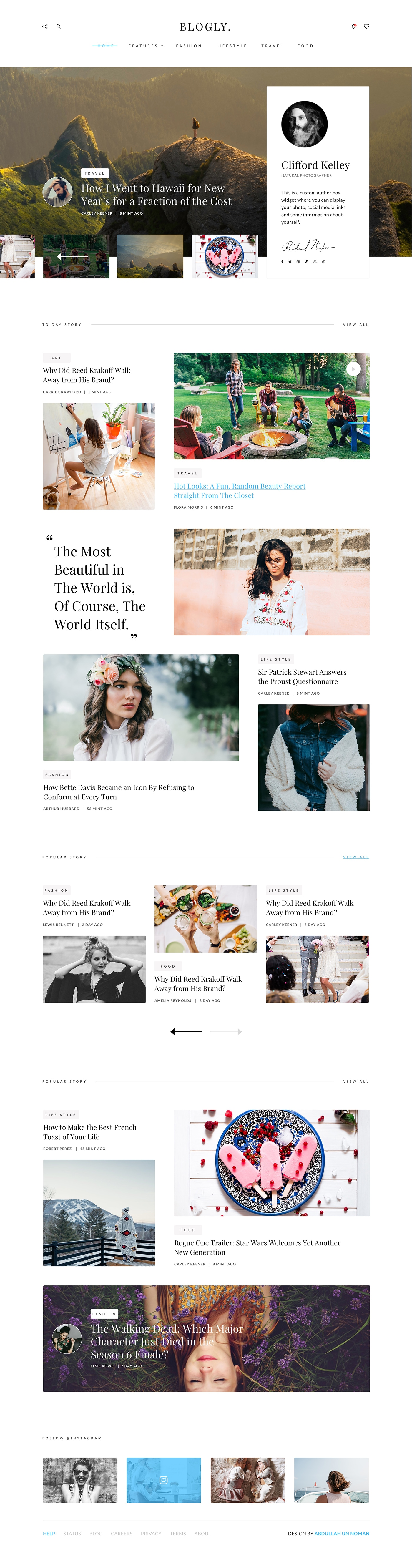 Blogly Theme - Clean and beautiful landing page, designed by Abdullah Un Noman