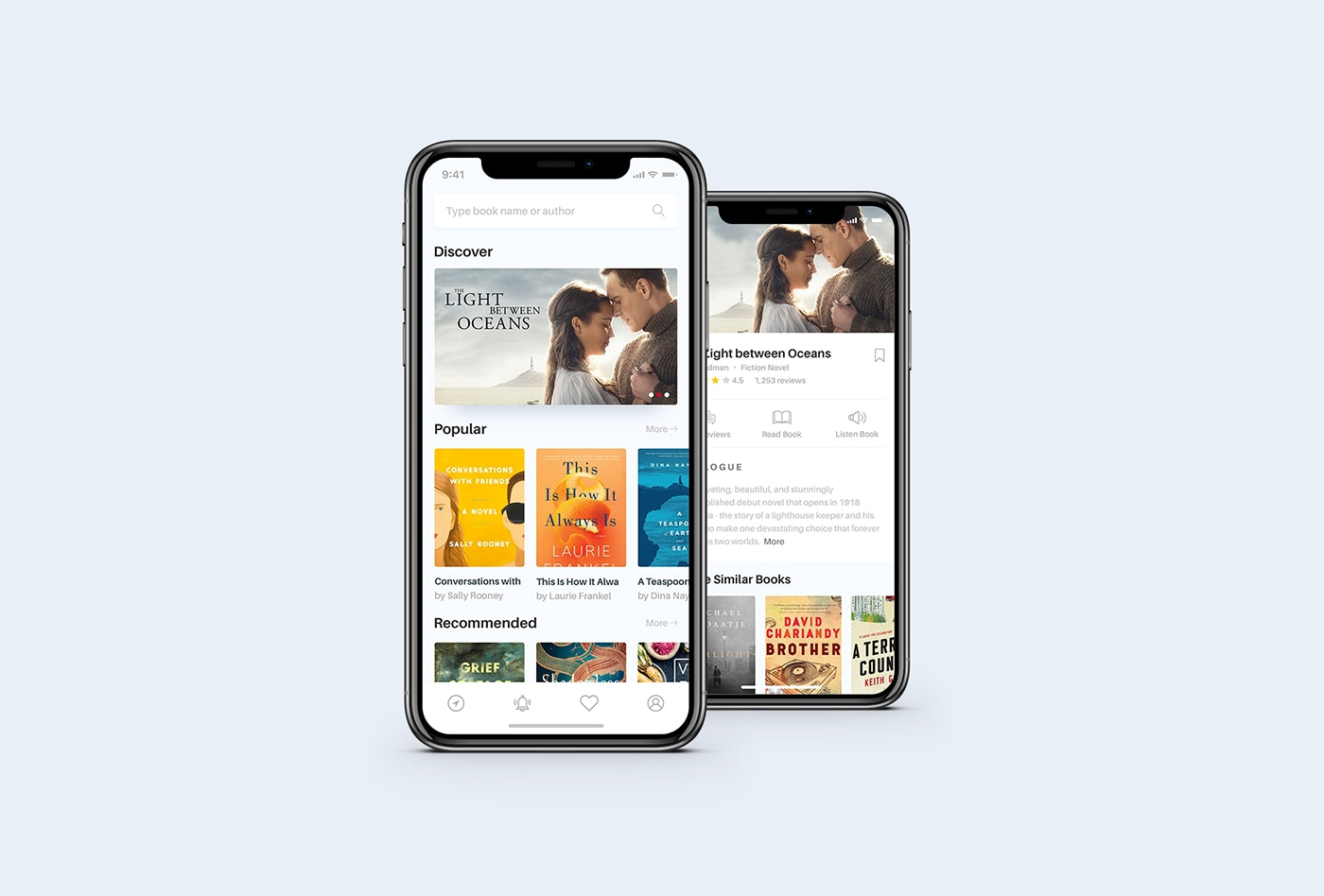 Book App Concept - Clean reading app design, includes 3 screens, black and white version