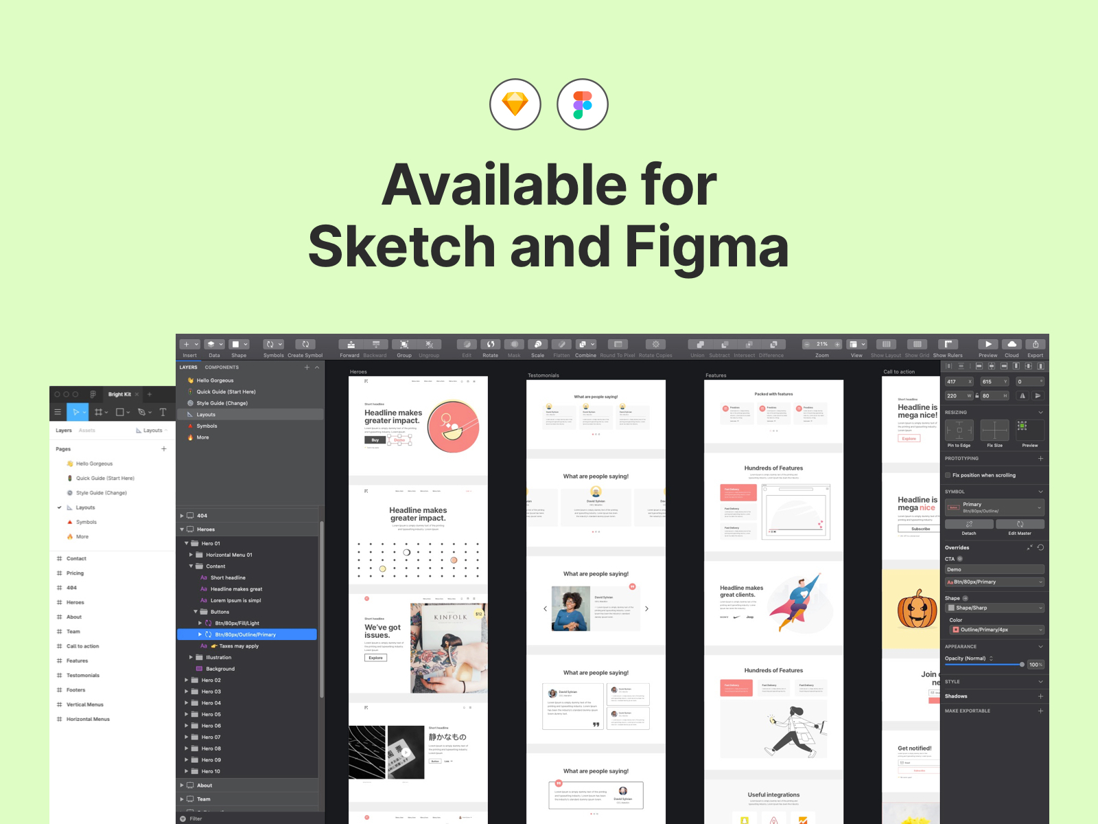 Bright Kit - 70+ Free Web Layouts UI Kit - A collection of 70+ web layouts ready to be exploited. Jump start your next project with a stunning library of web layouts for Sketch and Figma.