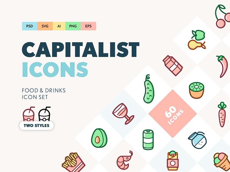 Capitalist Food and Drinks Icon Set - Lapa ninja
