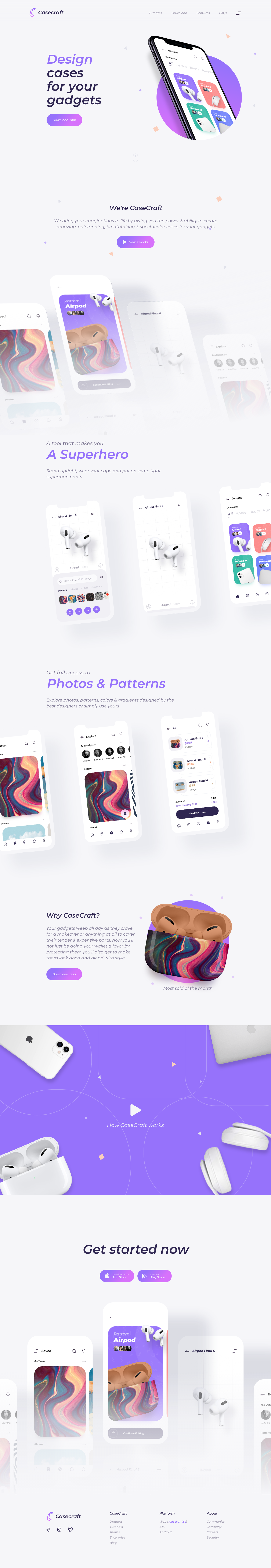 Case Craft Landing Kit - Minimal and clean ui kit design, 6+ screens for you to get started.