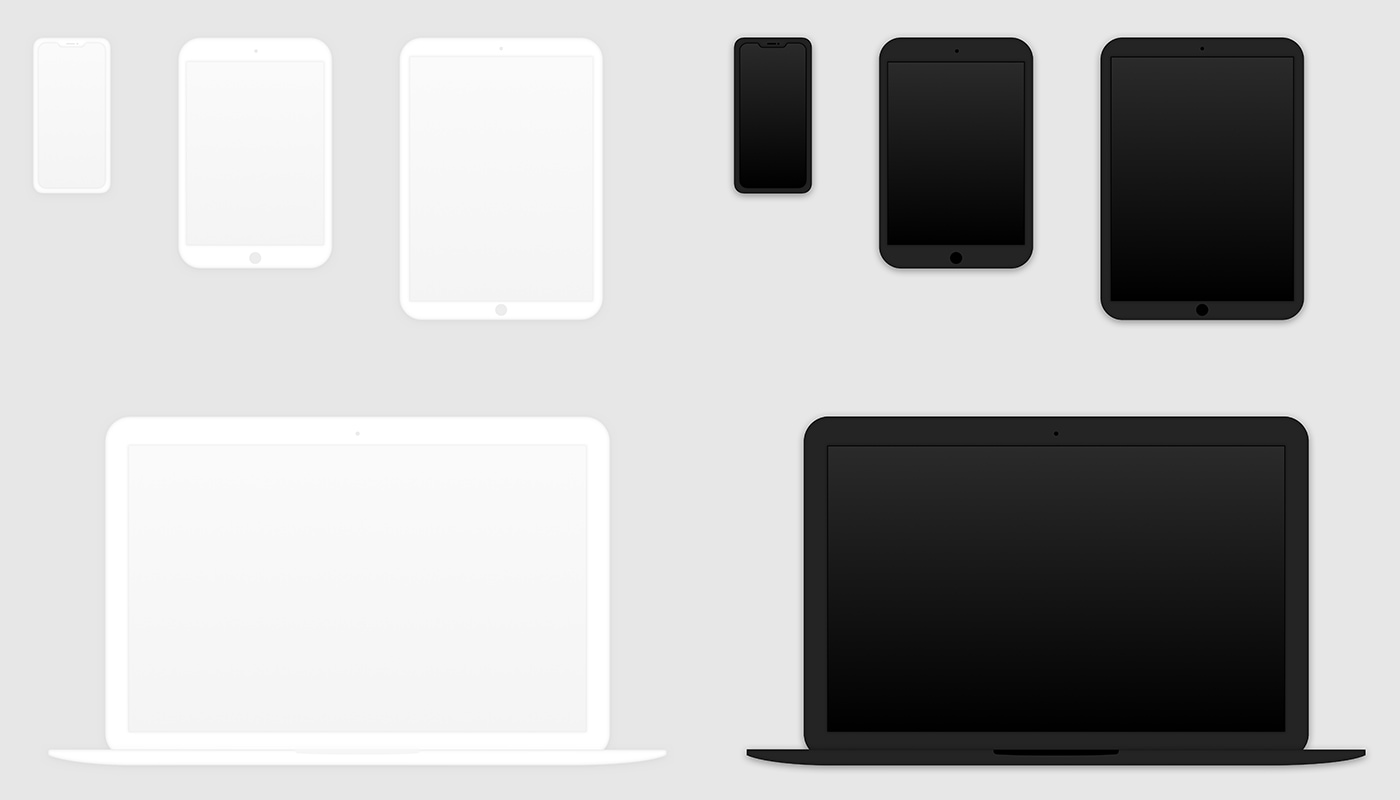 Clay Device Mockups - Includes iPhone X, iPad Mini, iPad Pro, and Macbook Pro devices in light and dark