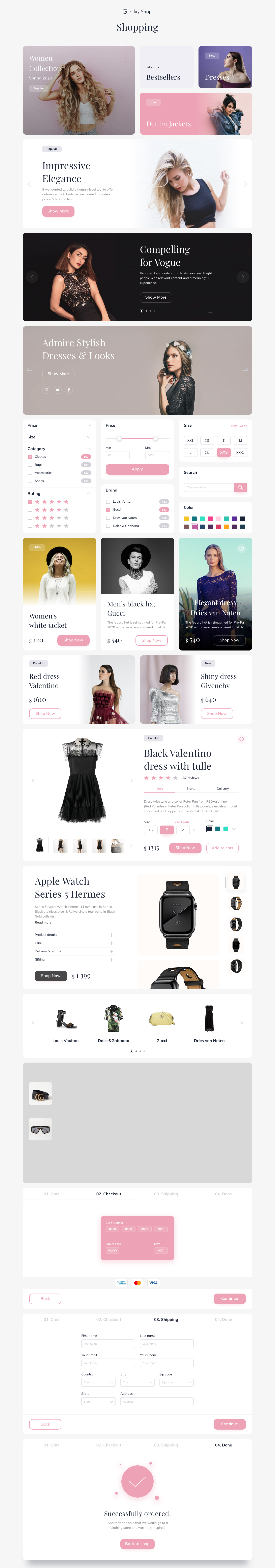 Clay Shop E-commerce UI Kit For Sketch - Ultimate e-commerce UI Kit with 5 pages and 60+ Components. Easy to resize and customize. All components carefully named sorted. With free Google fonts.
