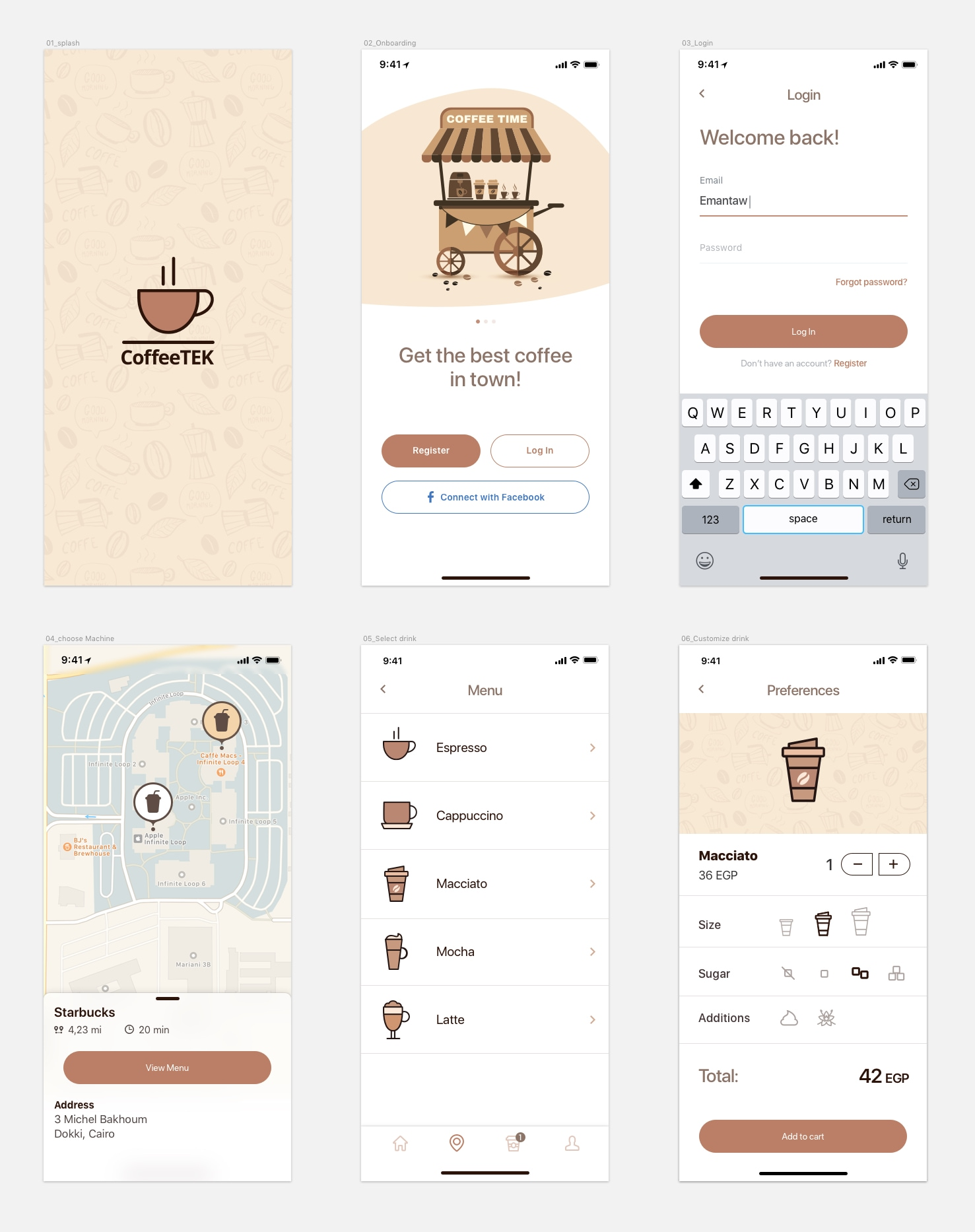 Coffee App Freebie - Minimal and clean app design, 6 screens for you to get started