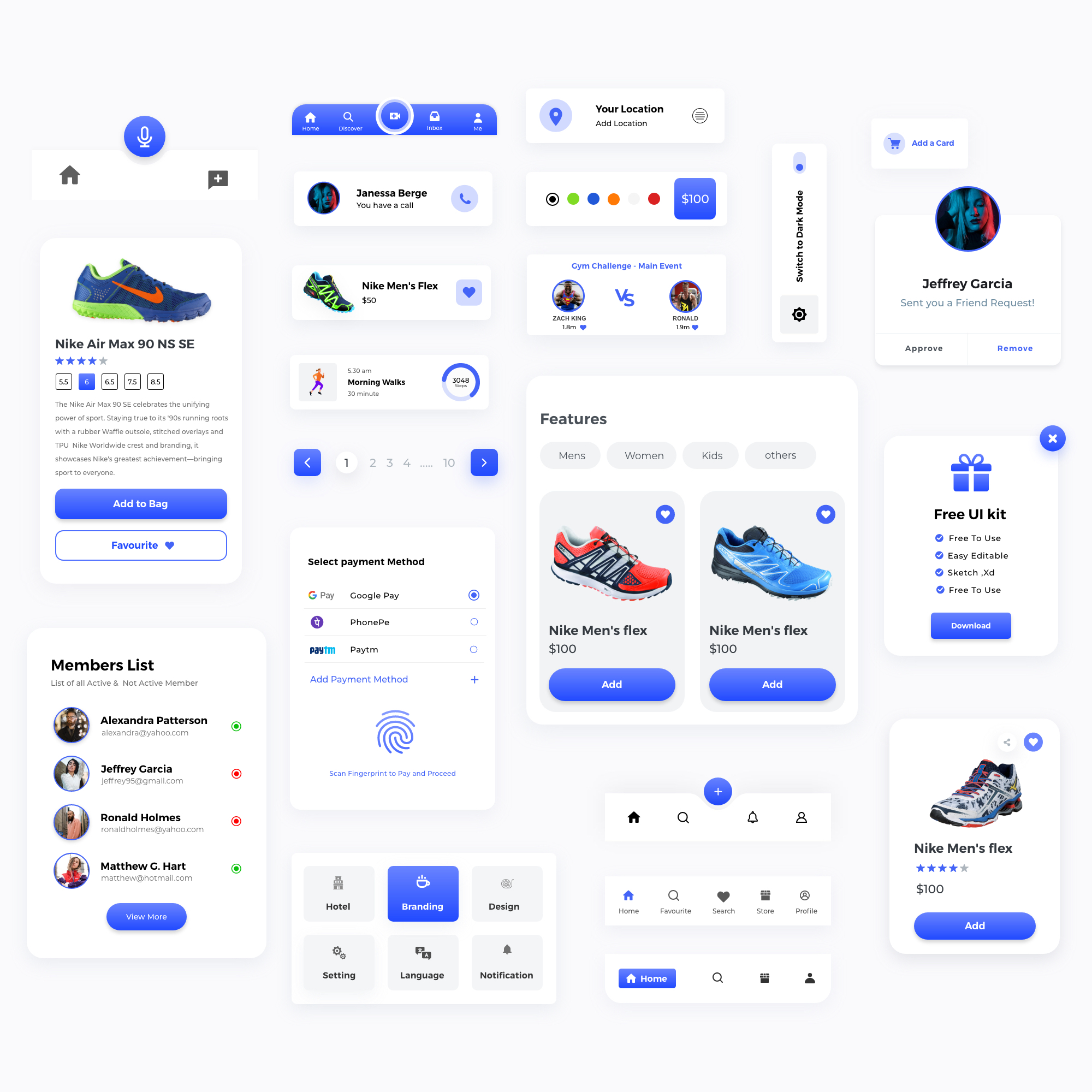 Components Free UI Kit for Adobe XD - Minimal and clean UI Kit design, 22+ components for you to get started.