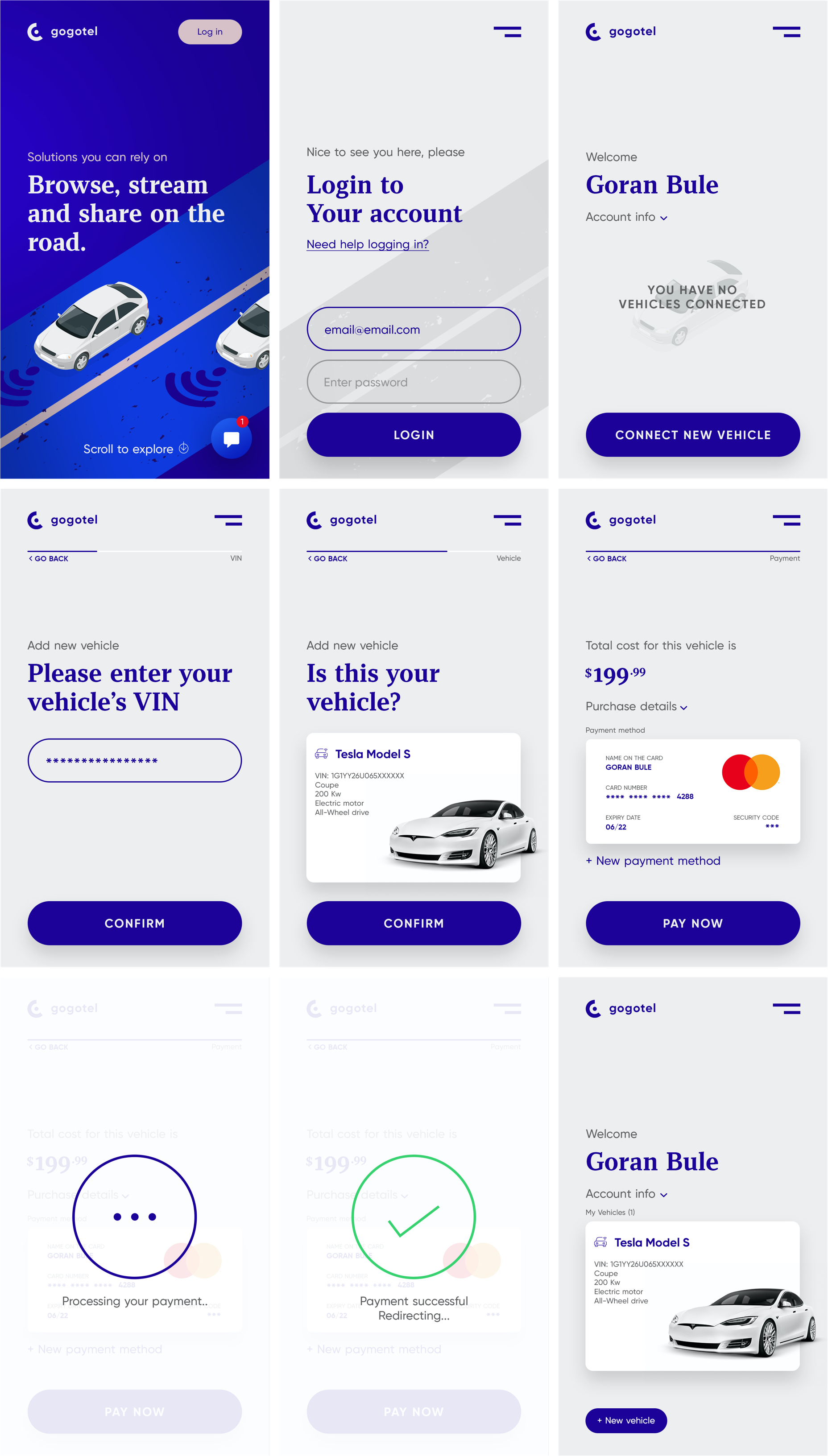 Connected Car App for Photoshop - Minimal and clean app design, 9 screens for you to get started.