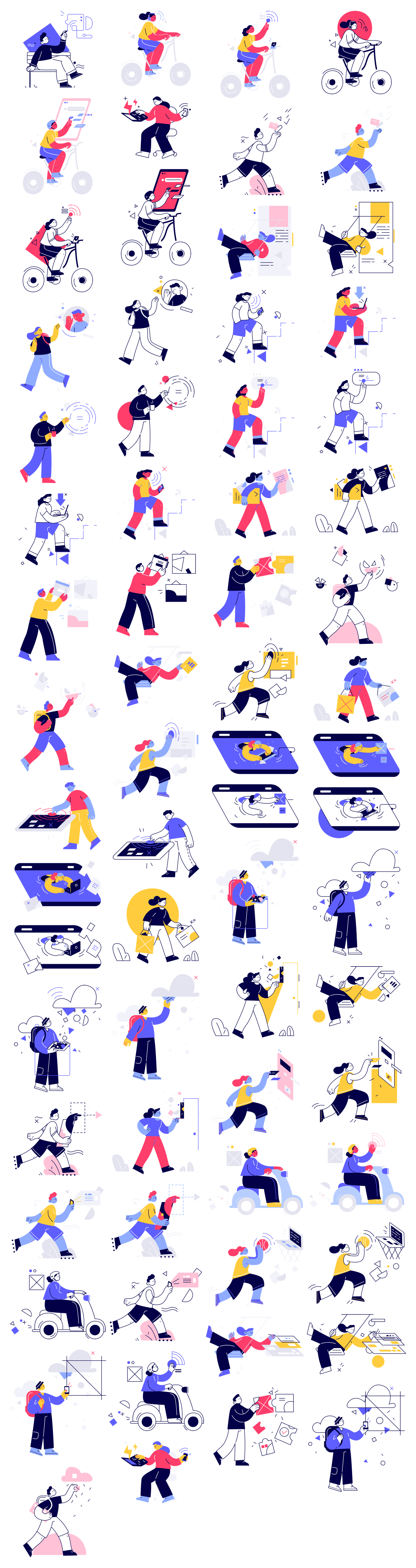 Control Free Illustrations - Control is a stylish illustration library with 18 characters with 3 different action scenes for each illustration. All illustrations are available in 2 styles: solid and linear. Download PNG files for free or purchase the pack and get access to fully editable AI & SVG files.