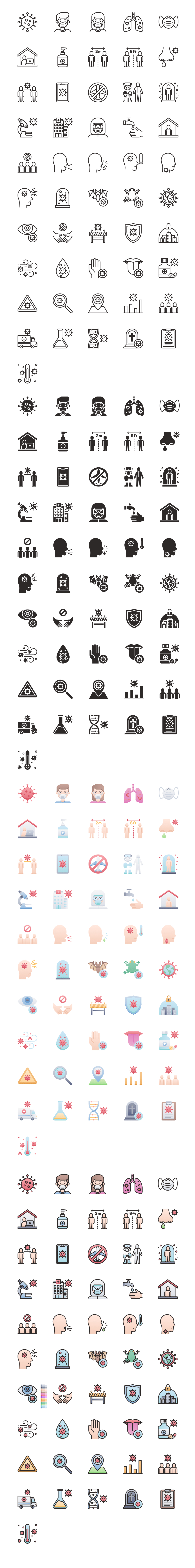 COVID-19 Free Icons - Icons for signage, health notices, disease information, publications, and aiding in preventing the spread of COVID-19, available to download and use for anything for free.
