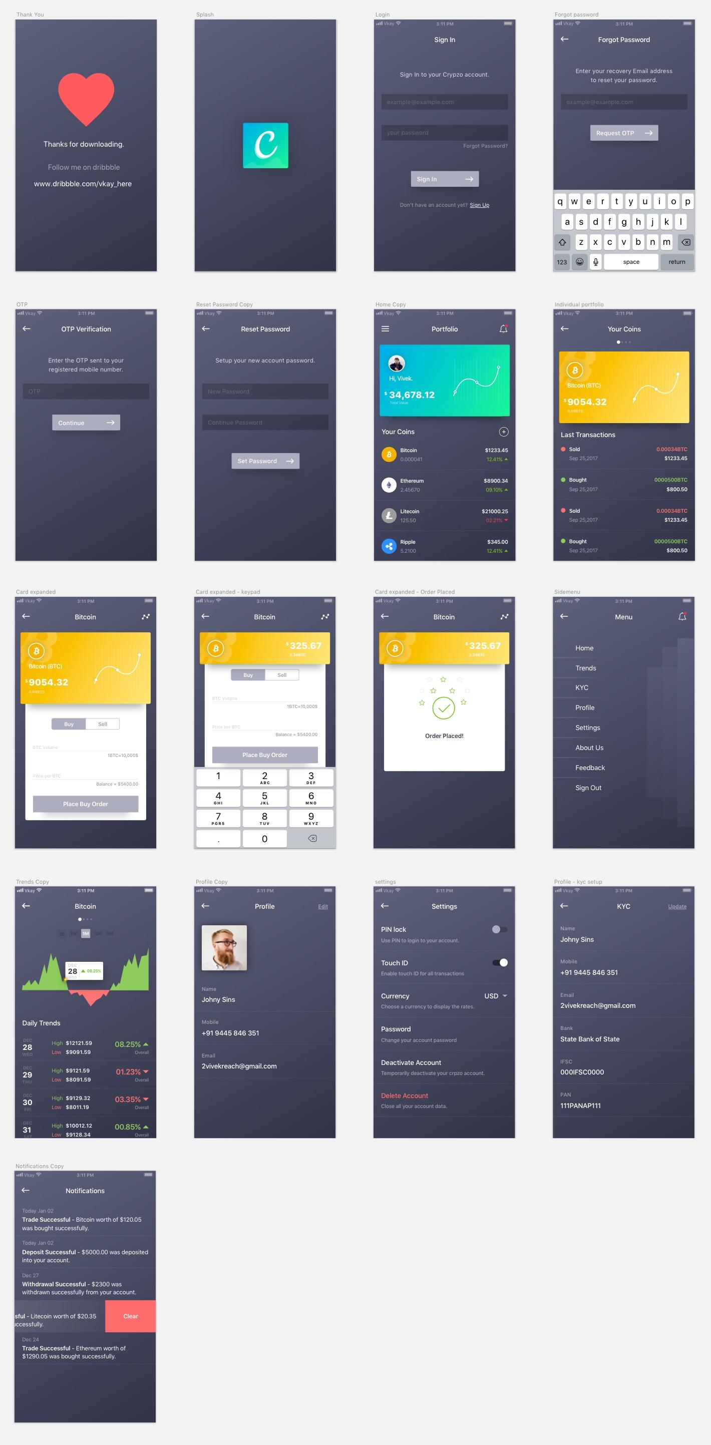 Crypto Wallet App Free UI Kit - A crypto wallet App concept by Vivek Karthikeyan