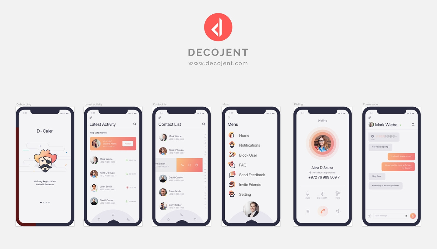 D-Caller Mobile UI Kit - Clean and elegant App by Decojent, 6 screens for you to get started
