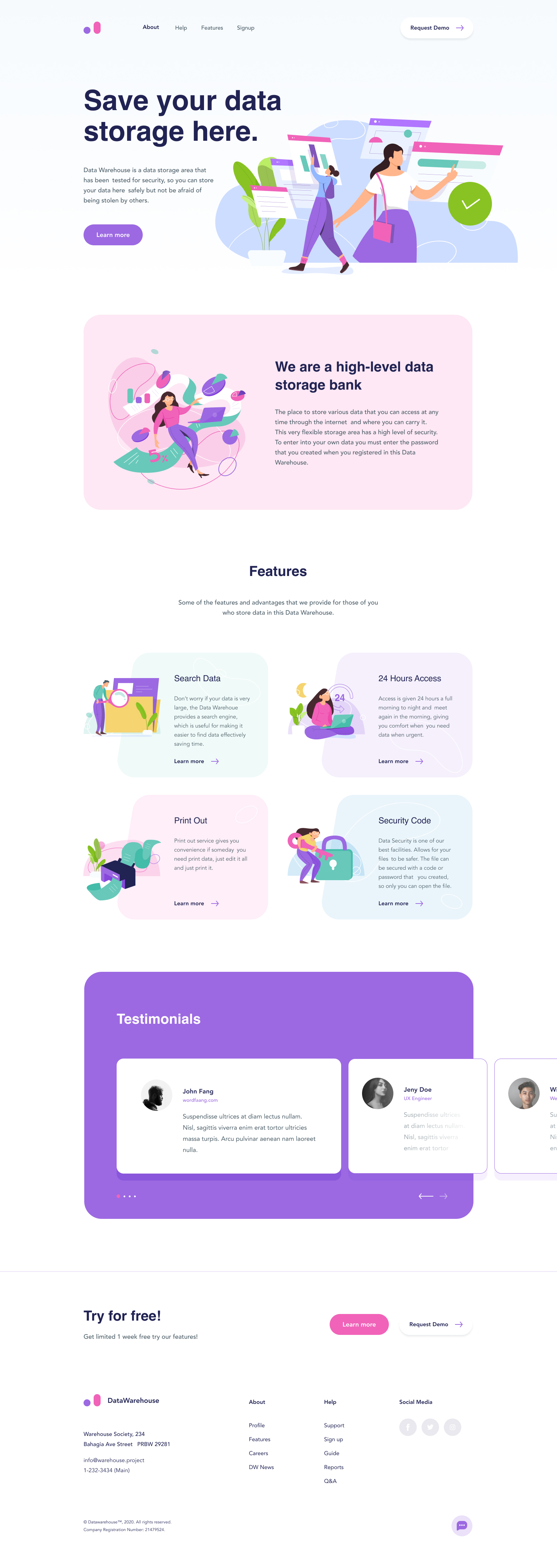 Data Warehouse Landing Page for Figma - Elegant and clean template for any kind of project.