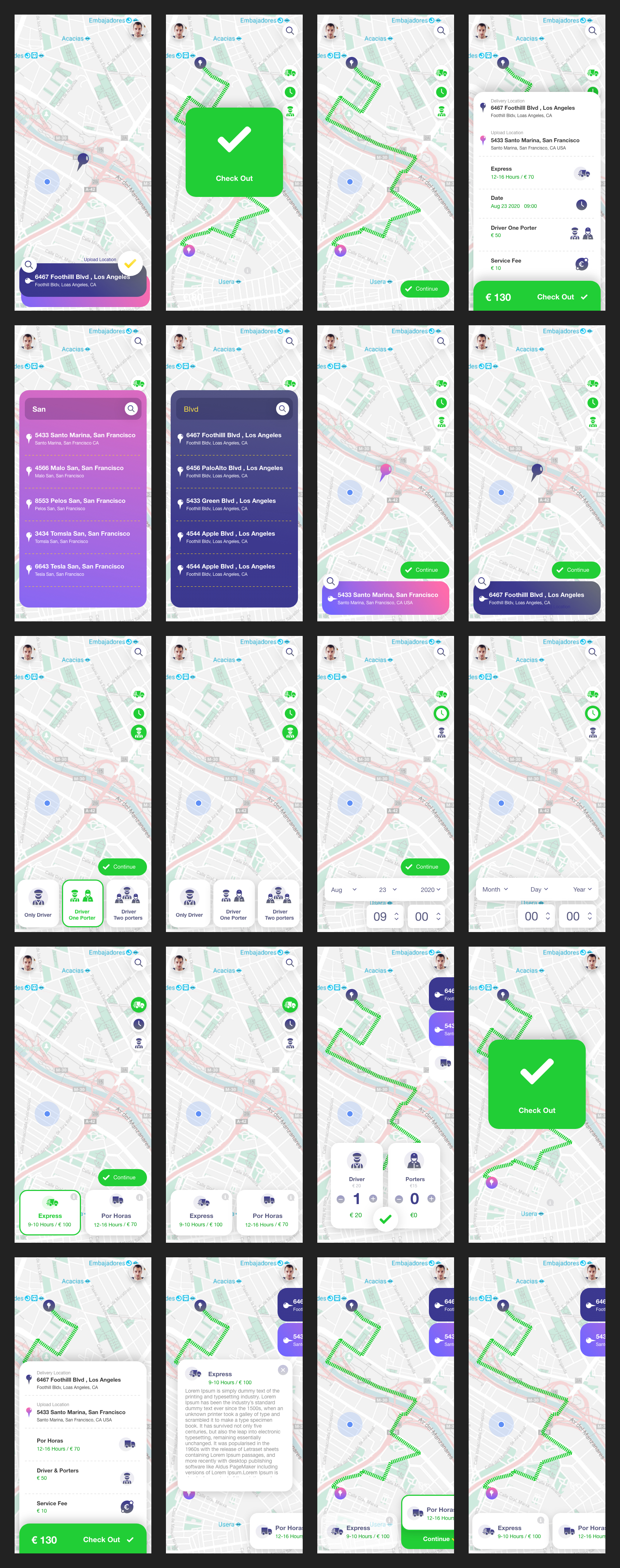 Delivery Truck App Free UI Kit - Delivery Truck App is free mobile UI Kit designed exclusively for Adobe XD. It features 25+ mobile screen pages to get you started on your projects.