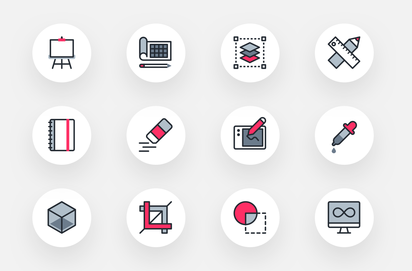 Design Tools Free Icon Pack - Grab this free icon pack with 20 graphic design & freelance-related icons. Comes in four colors—black, white, gray, and hot pink.