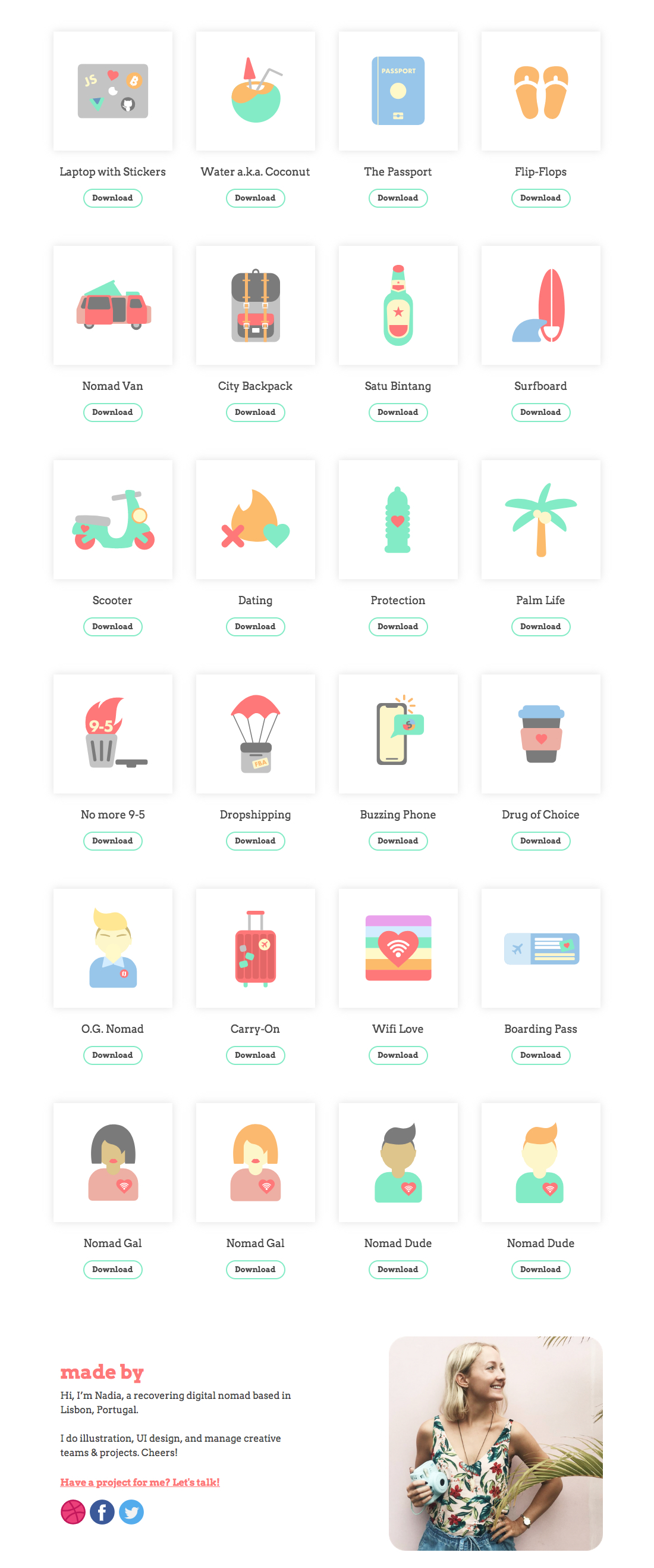Digital Nomad Starter Icon Pack - Lifestyle icon & emoji pack for your next project