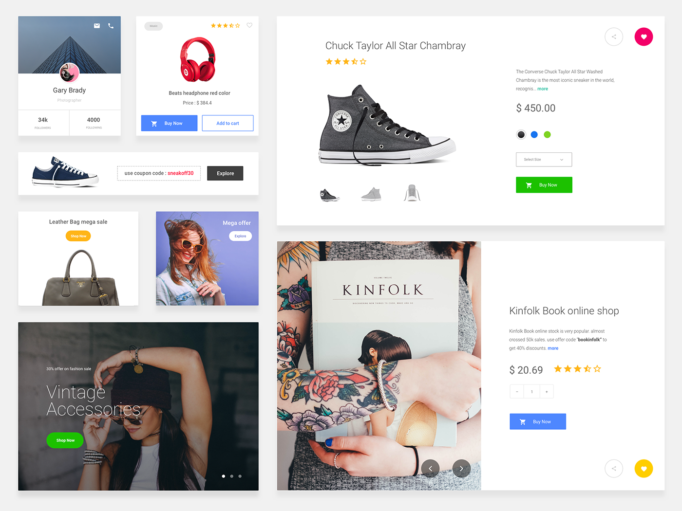 eCommerce Cards Free Sketch UI Kit - Clean and minimal eCommerce Cards by Divan Raj