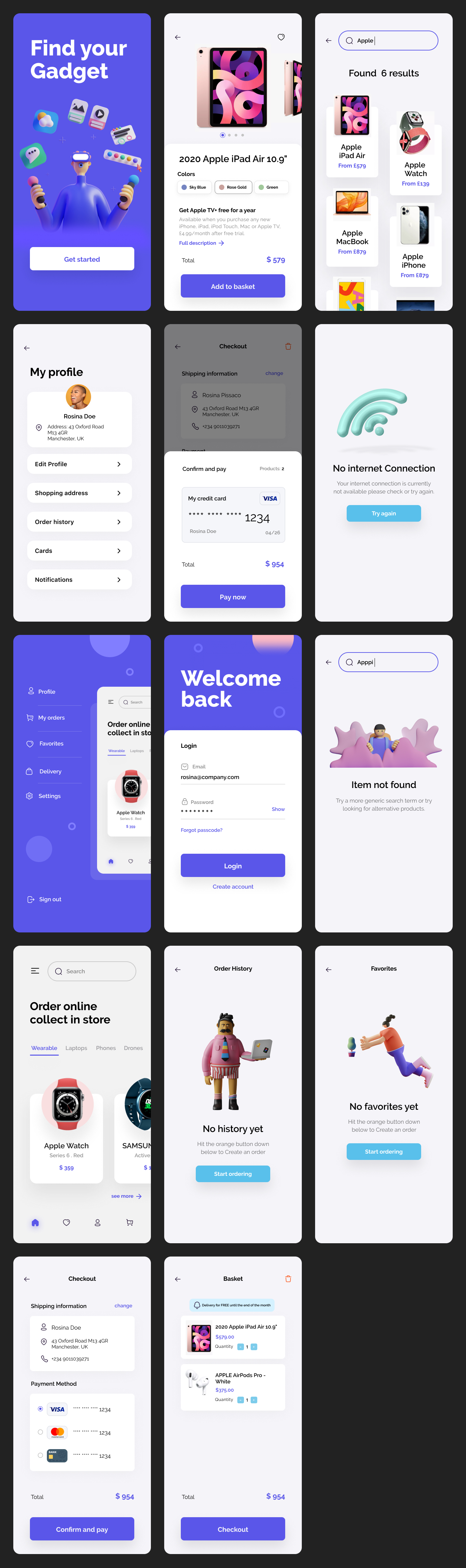eCommerce Free App UI Kit - Free mobile UI Kit designed exclusively for Figma by Rosina Pissaco. It features 14+ mobile screen pages to get you started on your projects.