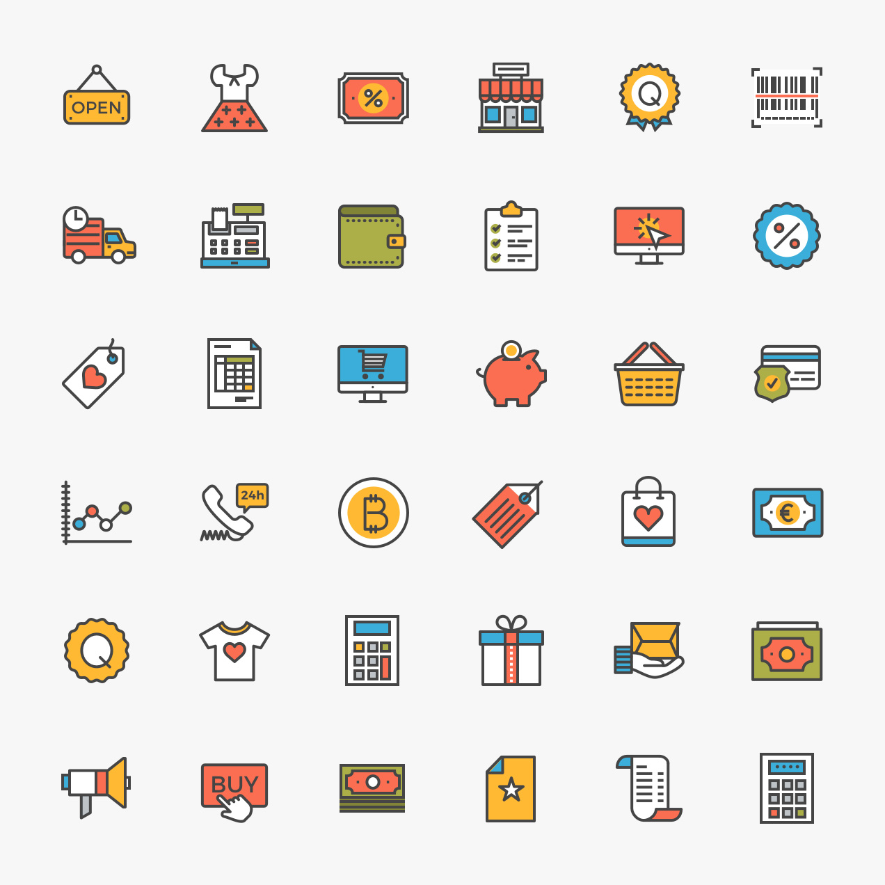 Ecommerce Free Icon Pack - 38 free, flat-line ecommerce icons for your next product design project.