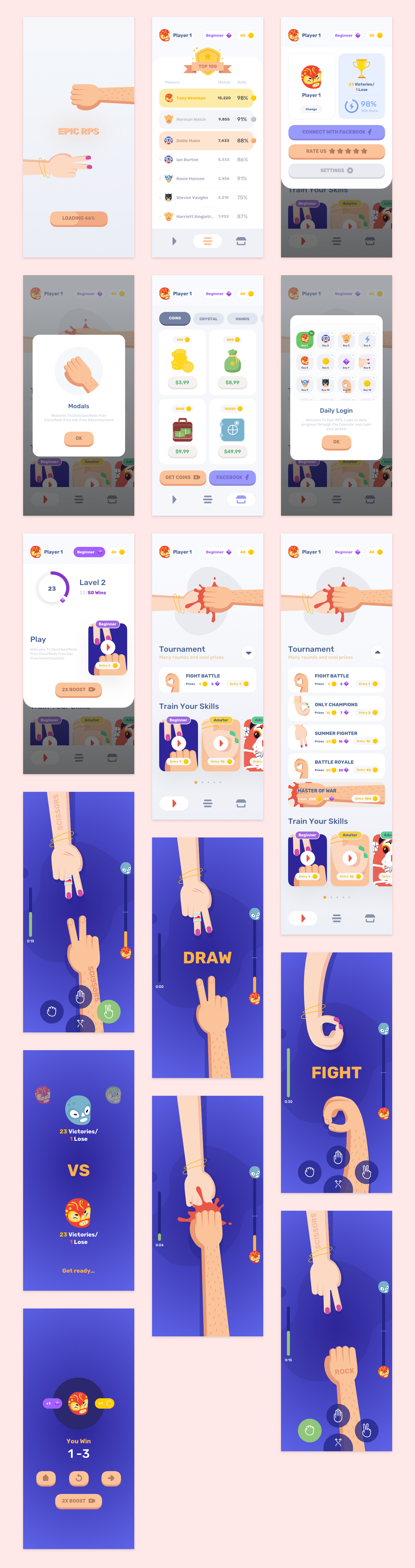 Epic Mobile Game UI Kit for Sketch - Fancy mobile game concept, 16+ screens for you to get started.