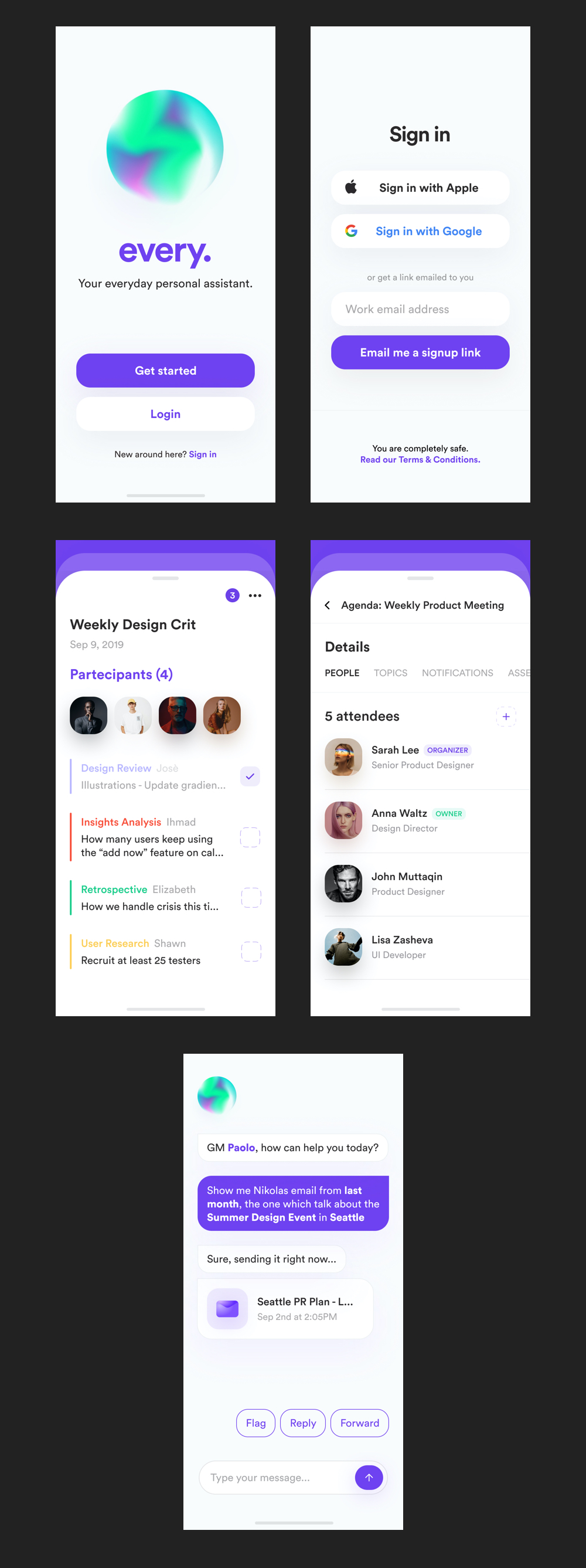 every. UI Kit for Figma - every. is a mobile app concept representing a personal assistant that can help you through your daily office routine