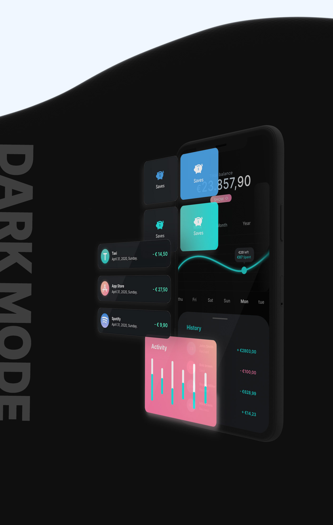 Financial UI Kit - The aim of this project was to create a UI-Kit for Financial and Banking Apps, following smooth UI guiding lines and thinking about a possible user. Shapes, colours and constructions are all build thinking about the readability and trustability.