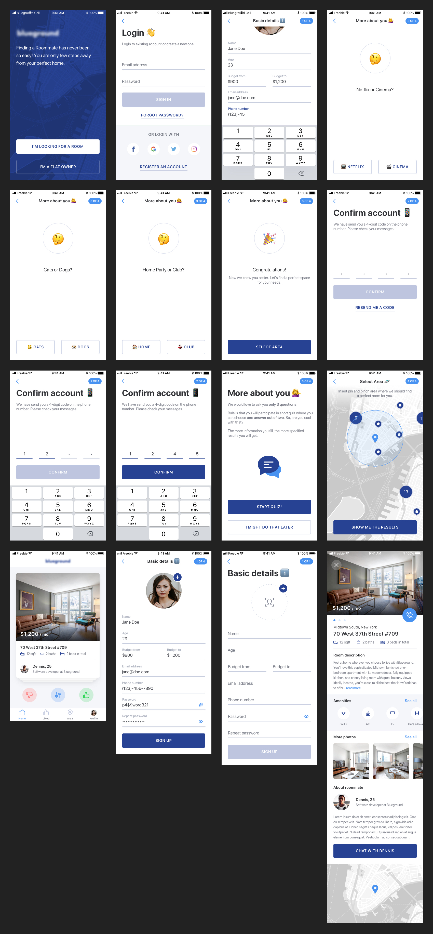 Find a Roommate Free UI Kit for Sketch - Minimal and clean app design, 16 screens for you to get started. Sketch file includes low fidelity wireframes as well. It also contains how I structure my artboards so you can quickly find a screen, make changes and adjust design.