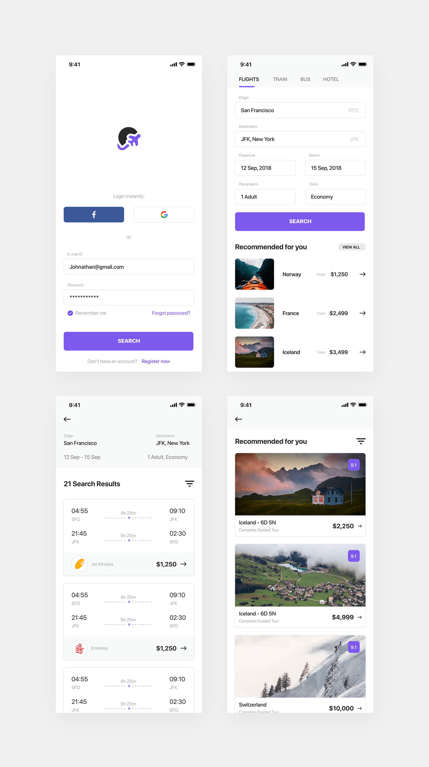 Flight Booking App - Made with simplicity in mind. 4 screens for you to get started with your project