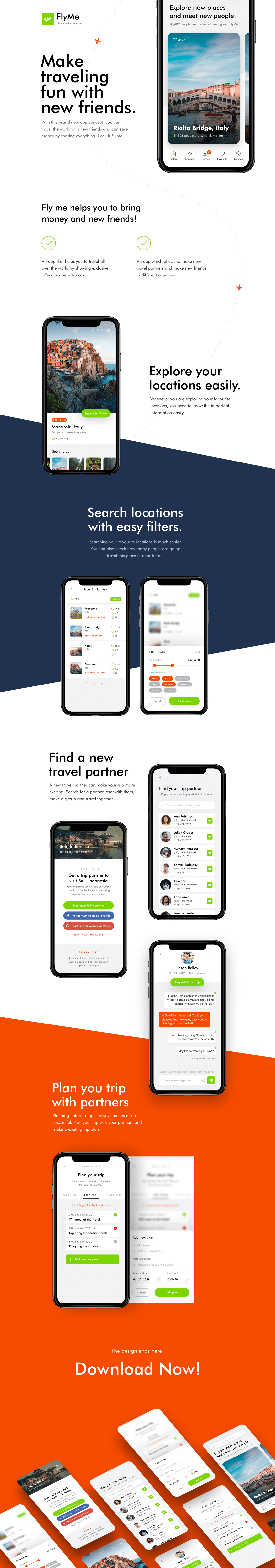 FlyMe - Free Travel App UI Kit - Minimal and clean app design by Farhan. Make traveling fun with new friends.