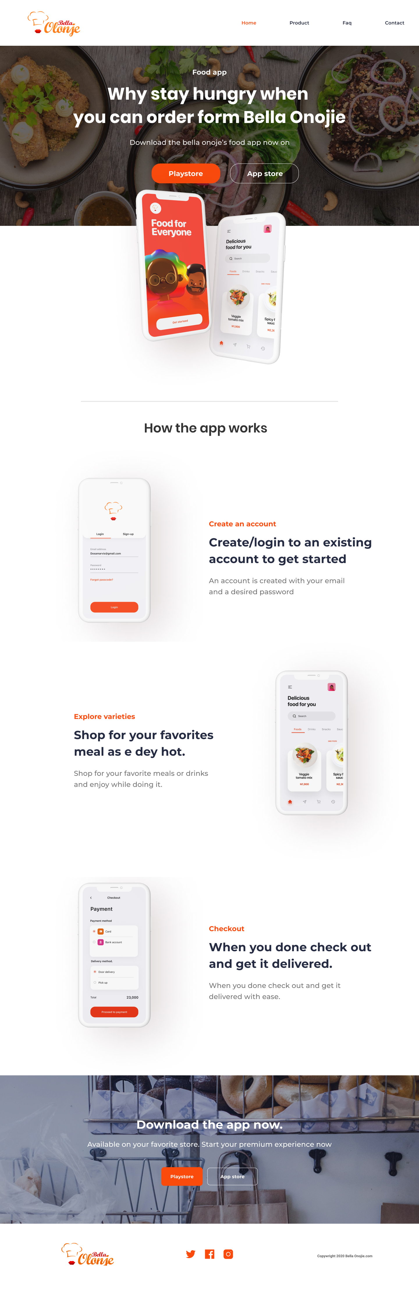 Food App Free Landing Page for Figma - Elegant and clean landing page design for Food App.