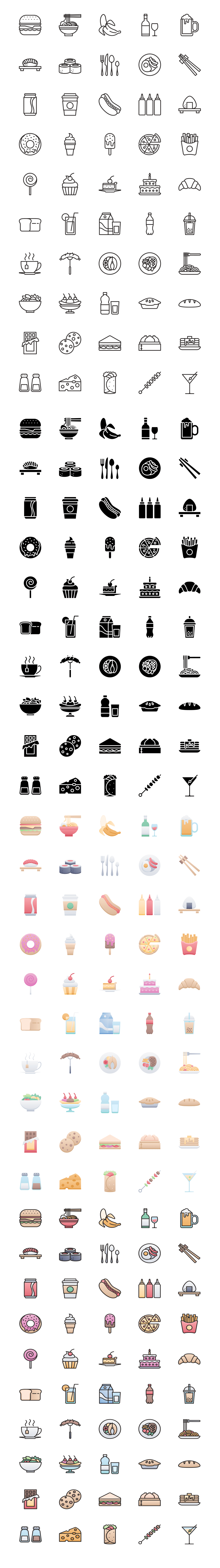 50 Food & Drink Free Icons - From doughnuts to ramen, beer to spaghetti, our Food & Drink icon pack has all the icons you could need for menus, restaurants, cafes, delivery apps, and everything in between.