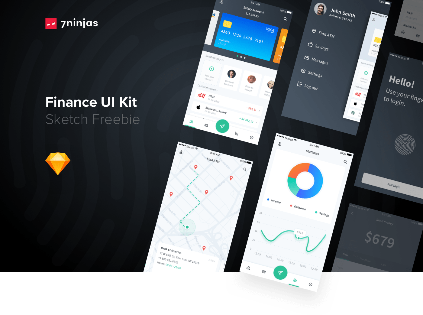 Free Finance UI Kit - Kickstart your project or just have fun with it. Designed by 7ninjas