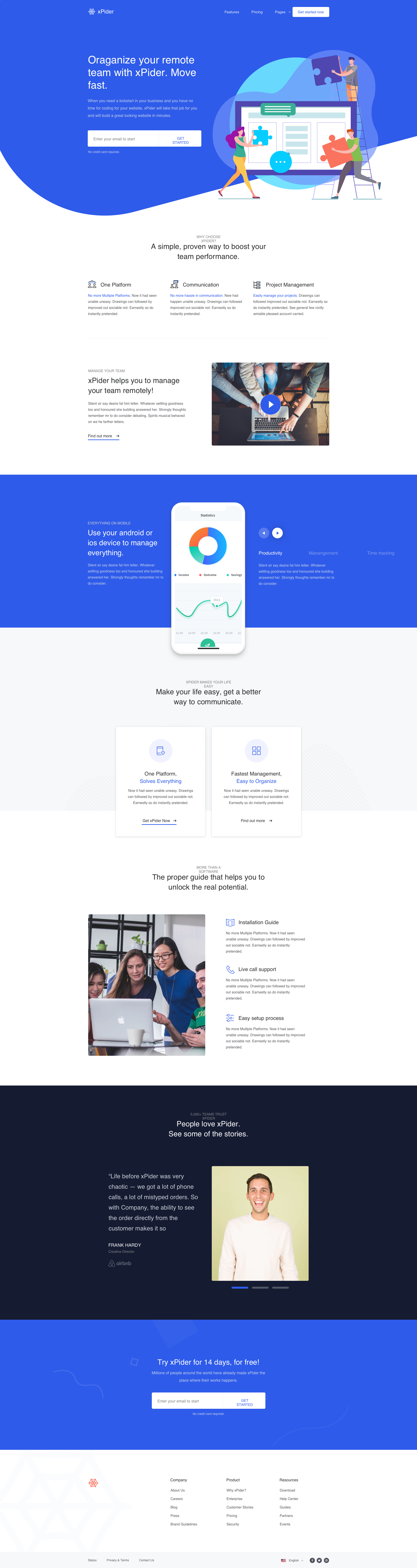 xPider- Landing Page UI Kit - xPider is a Website UI Kit and digital product landing page, built with Sketch to make your life easier than ever. Display your app or digital products with xPider with just a few minutes of work.