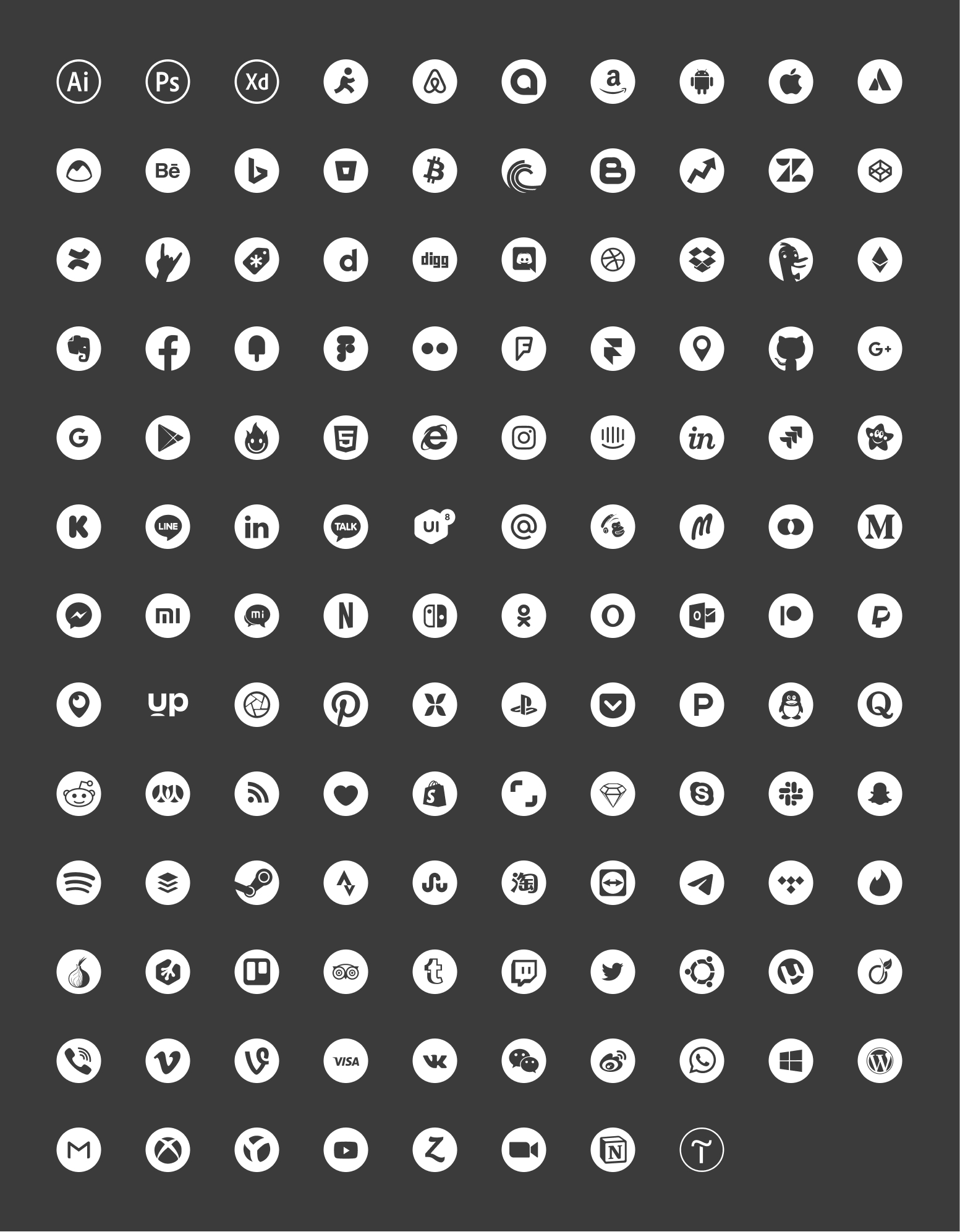 Free Social Icons - Over 100 x 3 Free social icons, color, white, black version