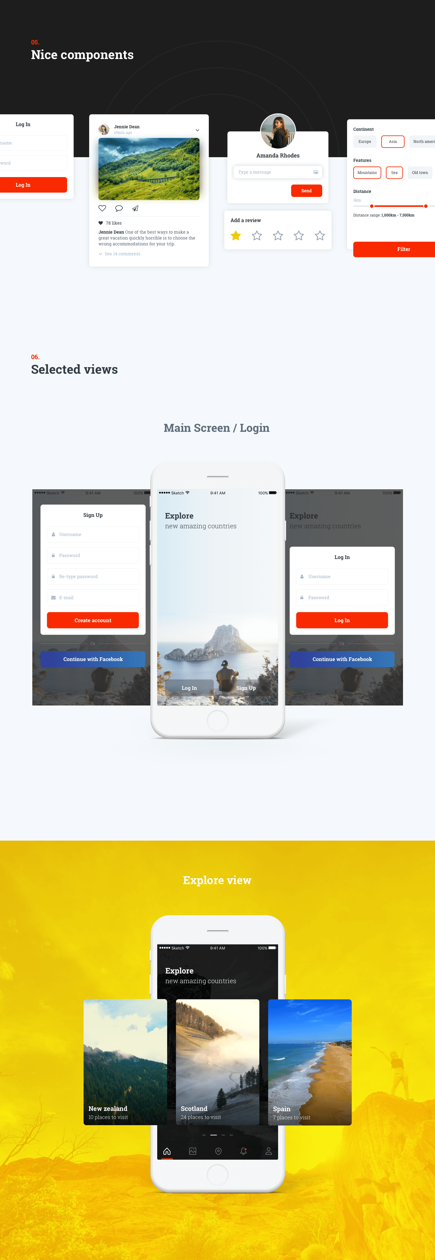 Free Travel App Ui Kit - There are 15+ carefully designed mobile screens by 7ninjas