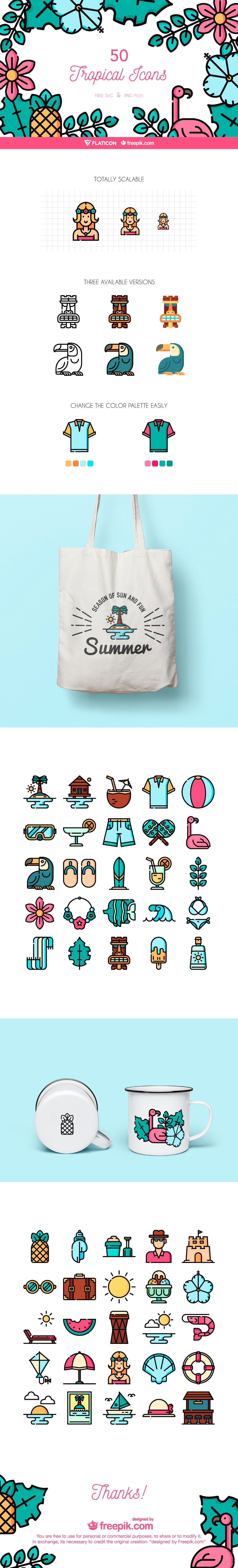 Tropical Icon Set - The Tropical Icon Set includes individual icons of palm trees, beach balls, cocktails, surfboards, waves, ice creams, bikinis, suntan lotions… everything you would expect to see and use on a warm tropical vacation.