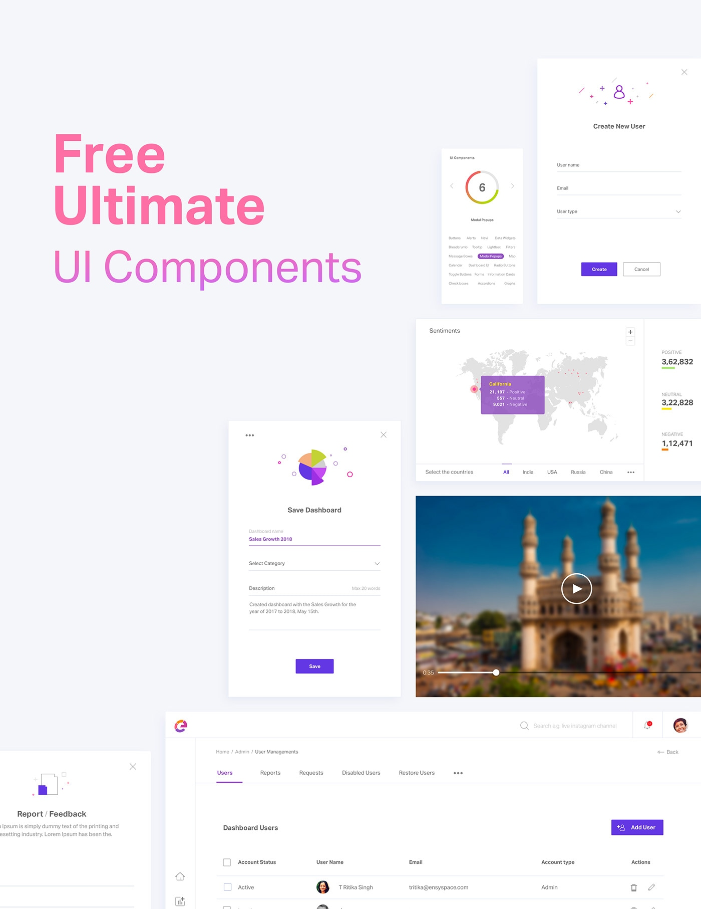 Free Ultimate UI Elements - Minimal and clean UI design