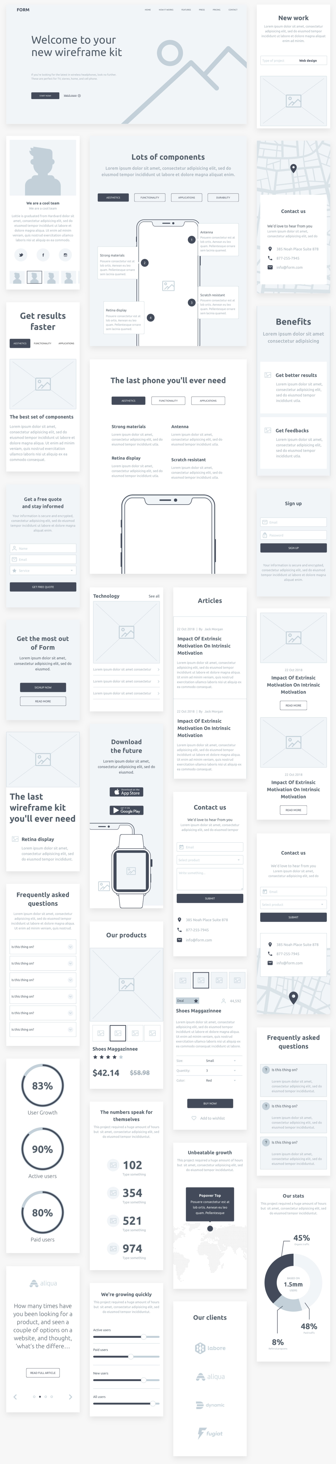 Form - Wireframe kit from InVision - Form is a free wireframe kit for speeding up your design workflow. Layouts sized for mobile, desktop, and tablet and available in Sketch and PSD formats.