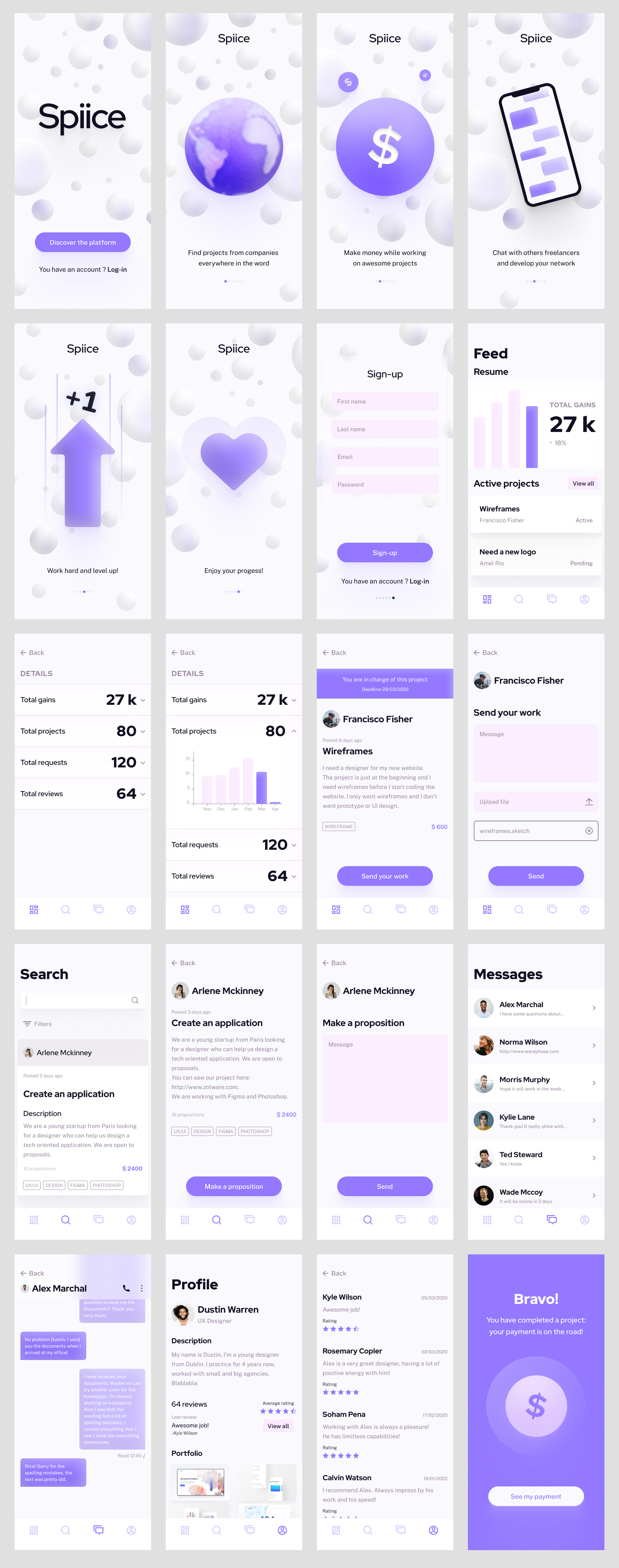 Freelance Platform UI Kit for Figma - A free UI kit composed of 20 screens in total with 5 exclusive illustrations. It's free for personal work.