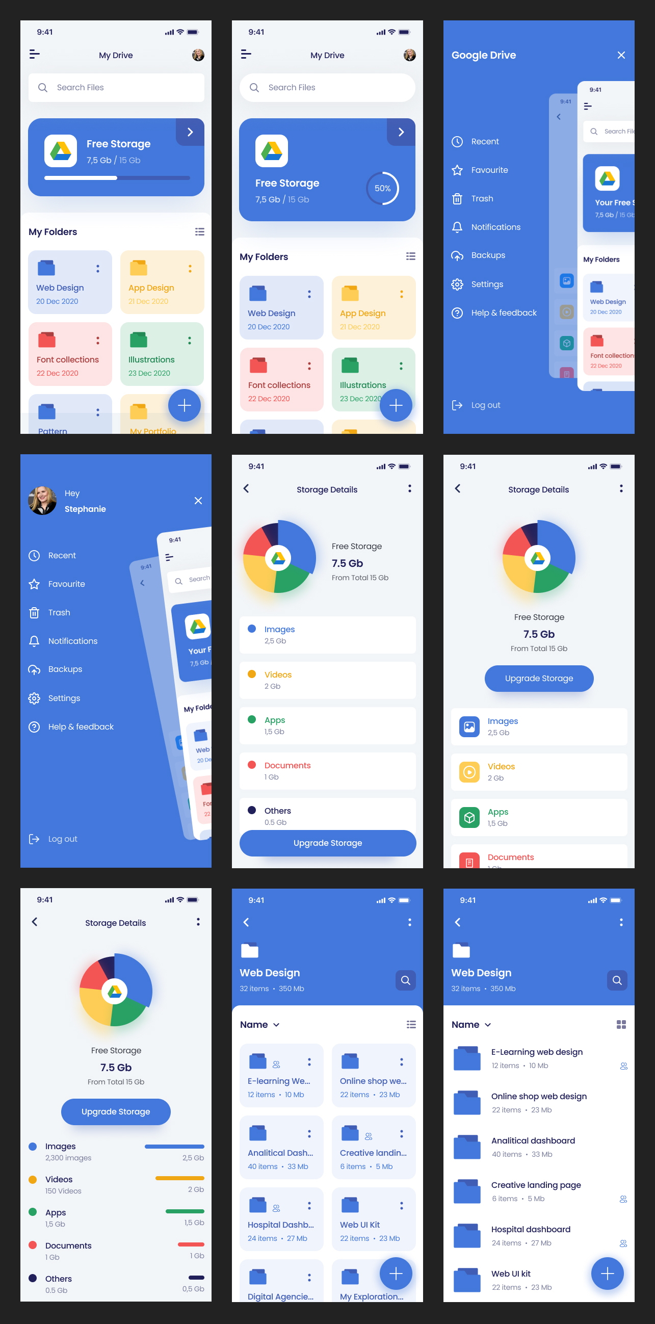 G-Drive Free UI Kit for Figma - Minimal and clean app design, 9 screens for you to get started.