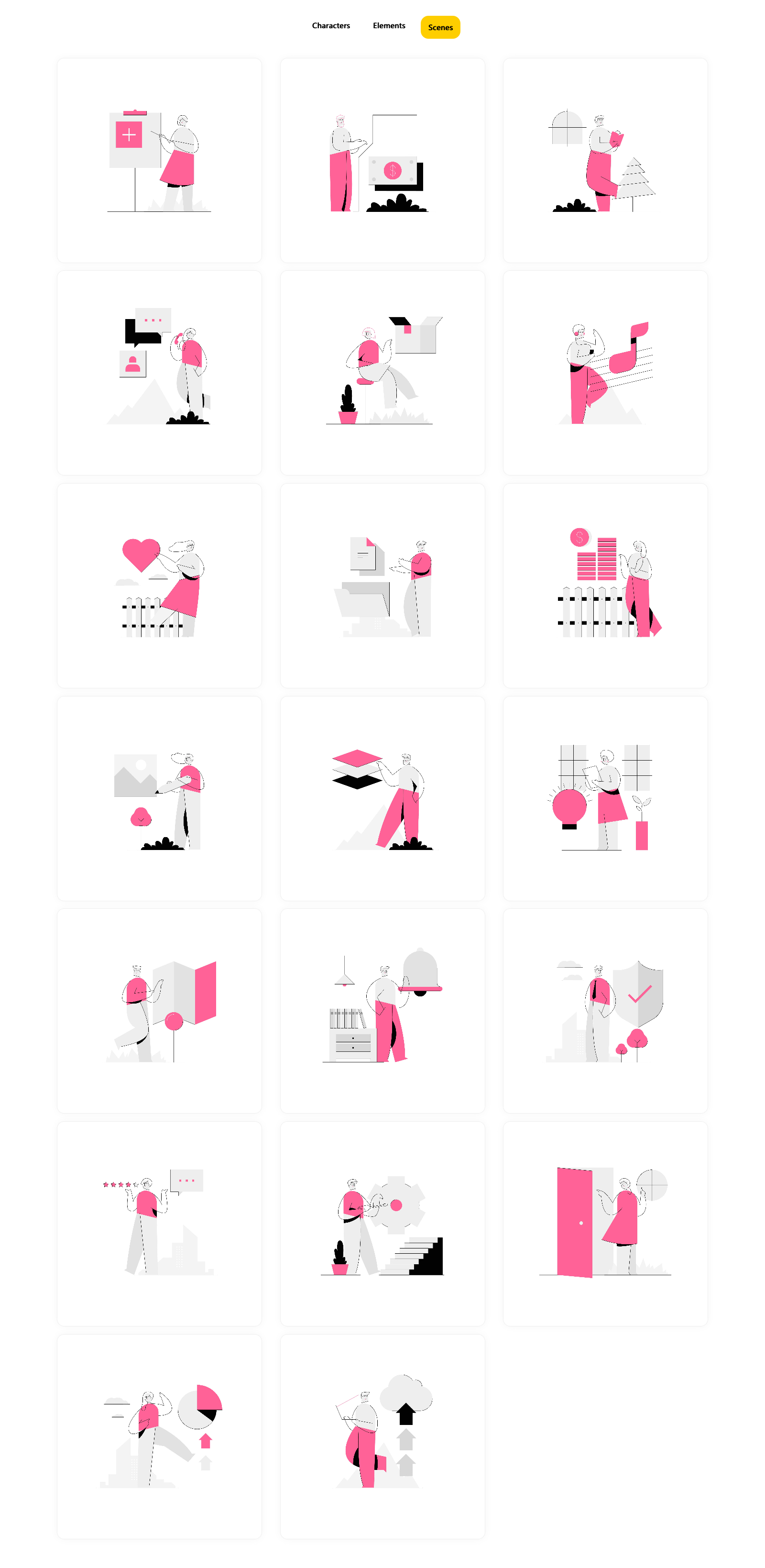 Ghost Free Illustrations - Minimal characters and scenes built using clean strokes and solid spaces. A perfect illustration pack to use for applications, websites and printed material...