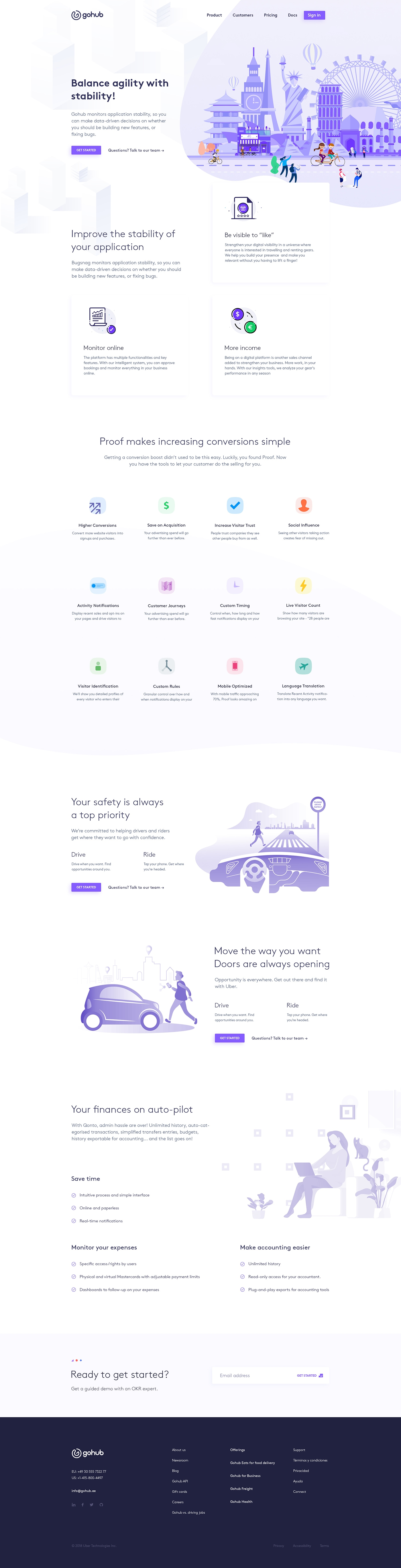 GoHub Landing Page - Elegant and clean landing page for your next project. All files are fully editable, layered, carefully organized
