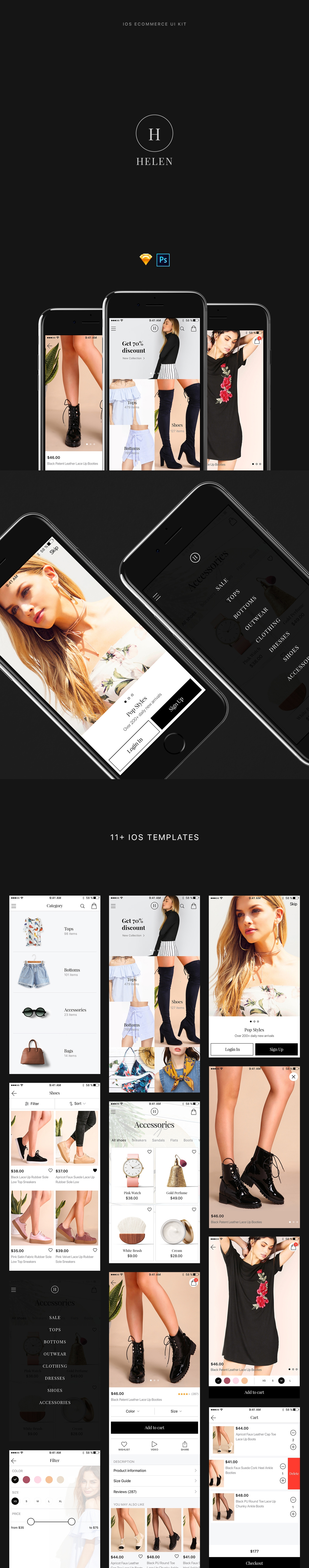 Helen Free iOS Ecommerce Ui Kit - Helen is a wonderful, professionally designed iOS ecommerce UI Kit for Sketch and Photoshop. All elements well organized into 11+ high-quality screens.