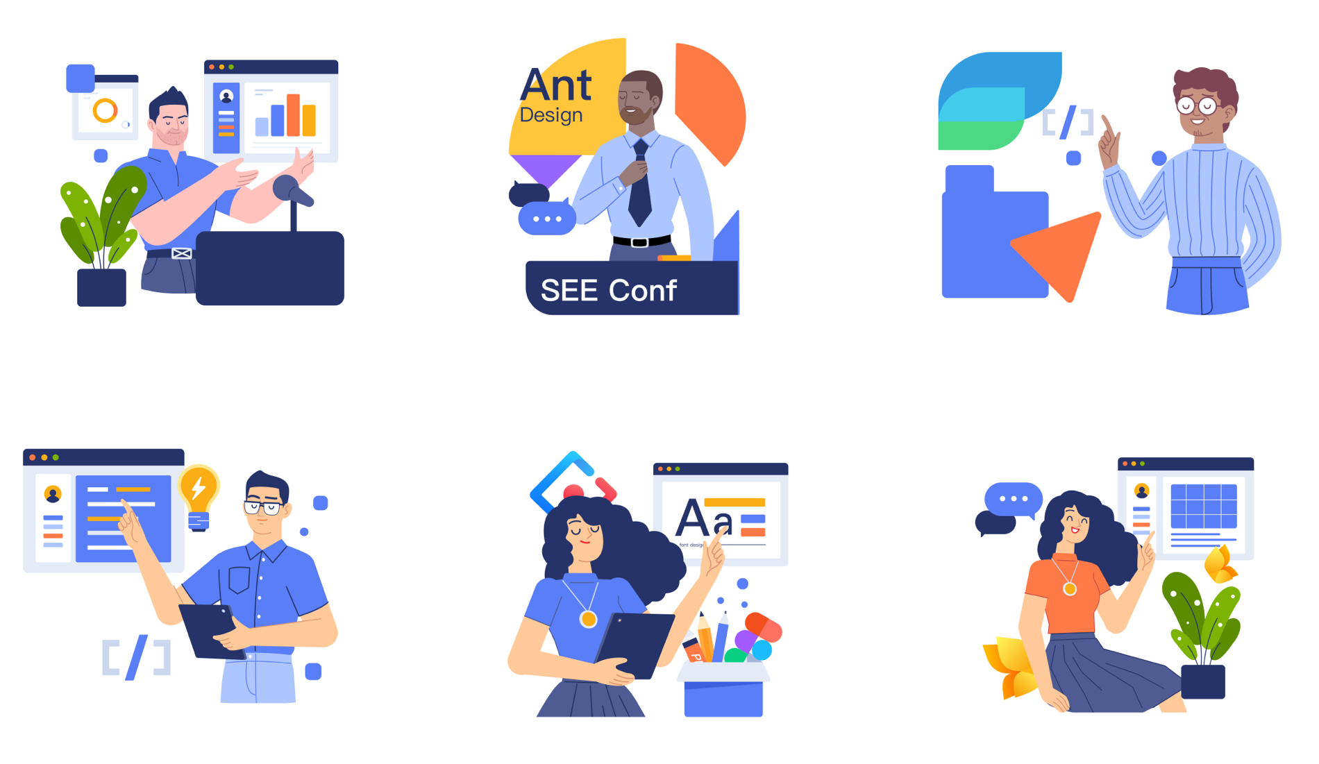 Hitu Free Illustration Components - HiTu aims to modularize layout, color, shapes, and a series of design guidelines to help designers fulfill illustration requests gracefully and fast.
