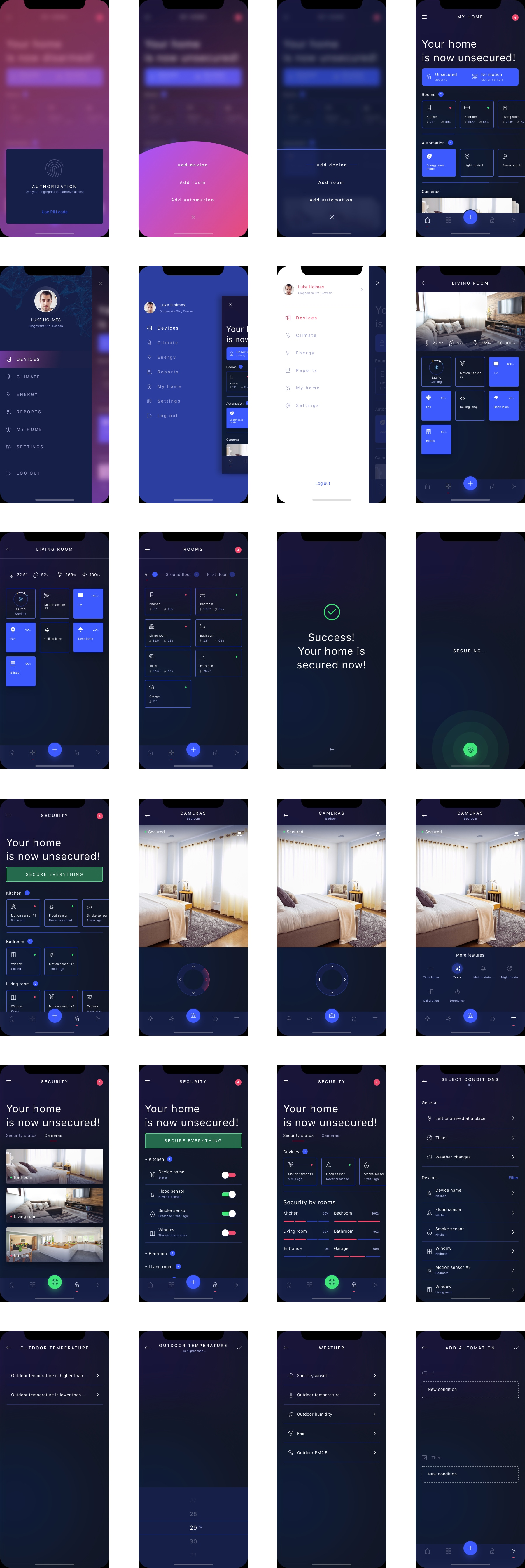 HIVO Smart Home UI Kit - 62 carefully designed mobile screens to kickstart your project.