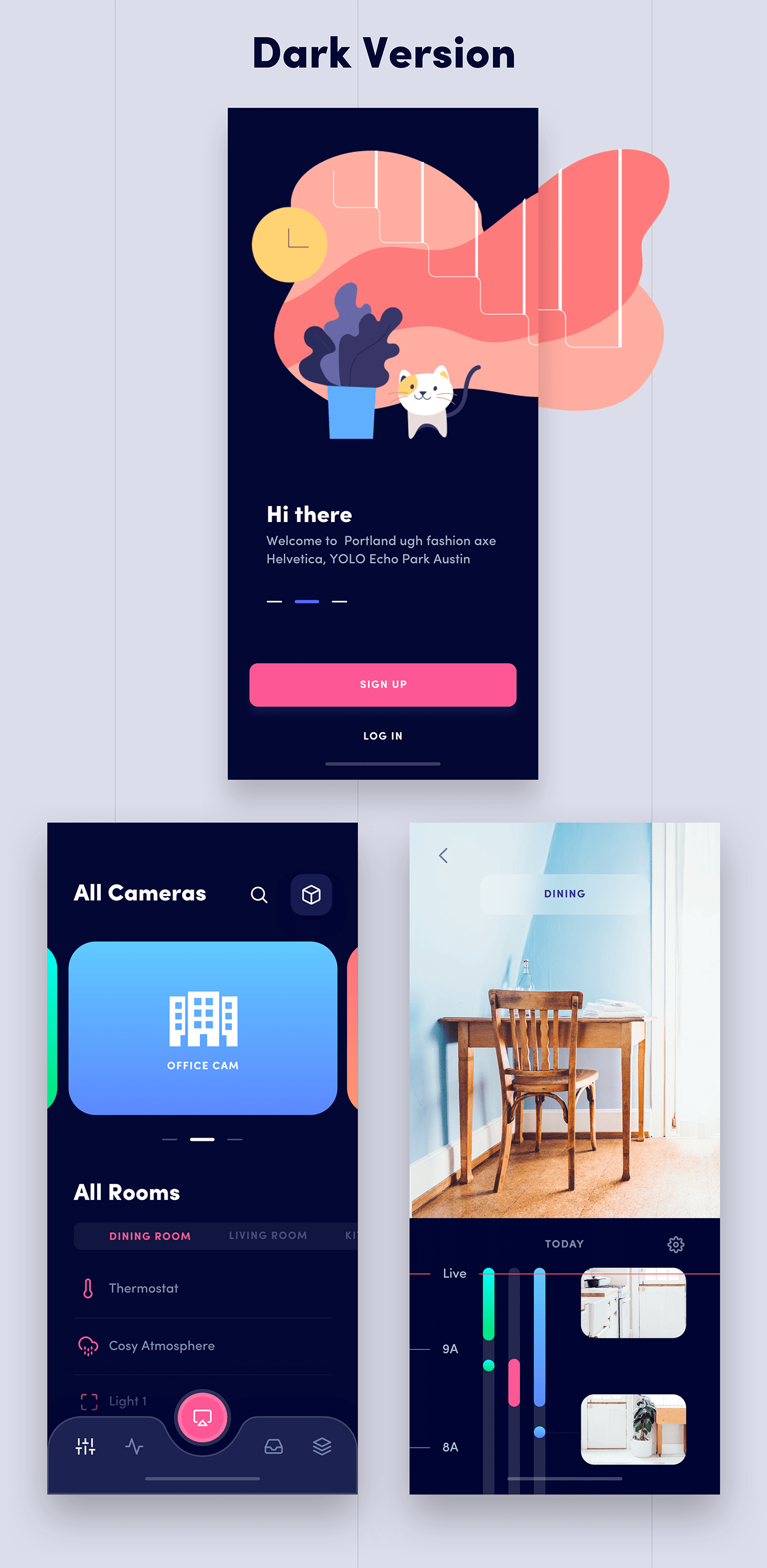 Home Automation App - Clean and minimal app, light and dark version. Designed by Faria