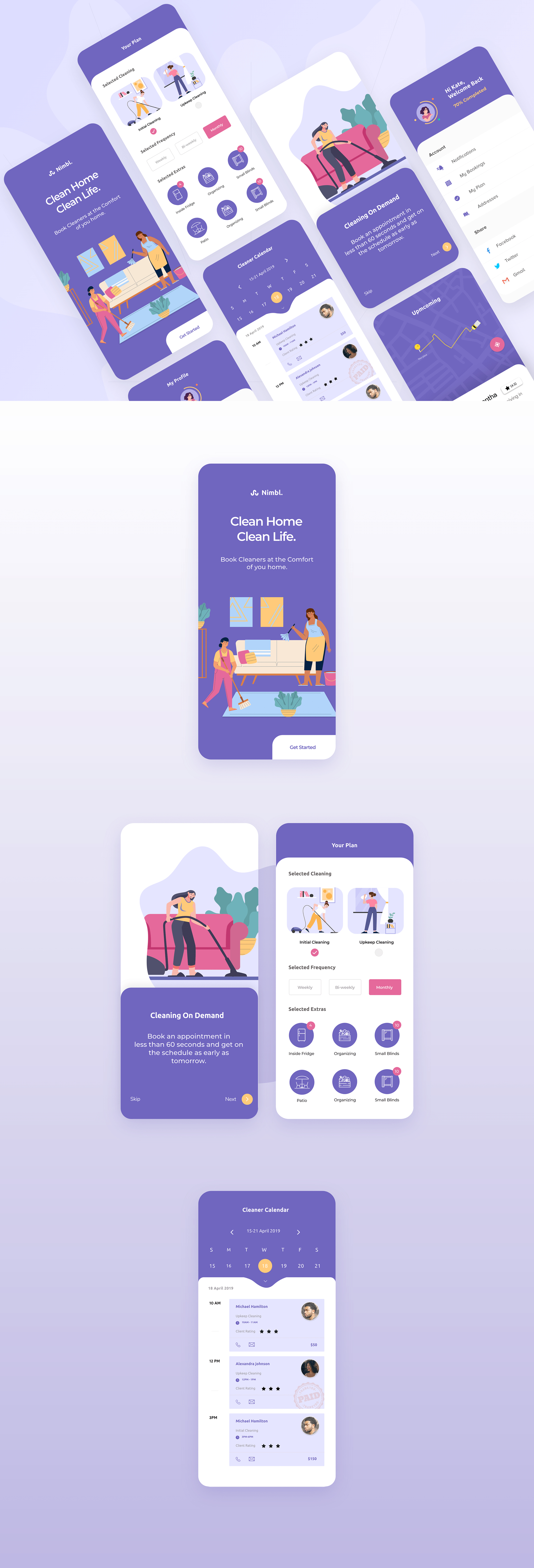 Home Cleaning App for Adobe XD - Book cleanings at your convenience, chose frequency and customise extras. The app also has a version for the cleaners where they can manage their bookings and watch their calendar closely. Minimal and clean app design, 6+ screens for you to get started.