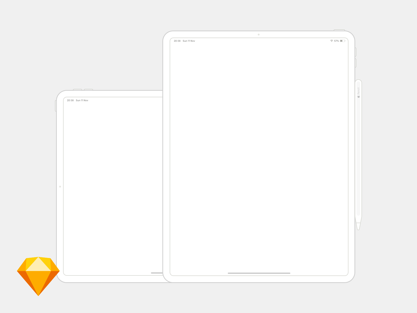 iPad Pro 12.9 Wireframe Mockup - It's an 12.9 inch model at 1/3 of the original pixel resolution for a smoother transition to real pixels. Includes an Apple Pencil. Available in landscape and portrait. Its all symbols so you can configure it however you'd like.