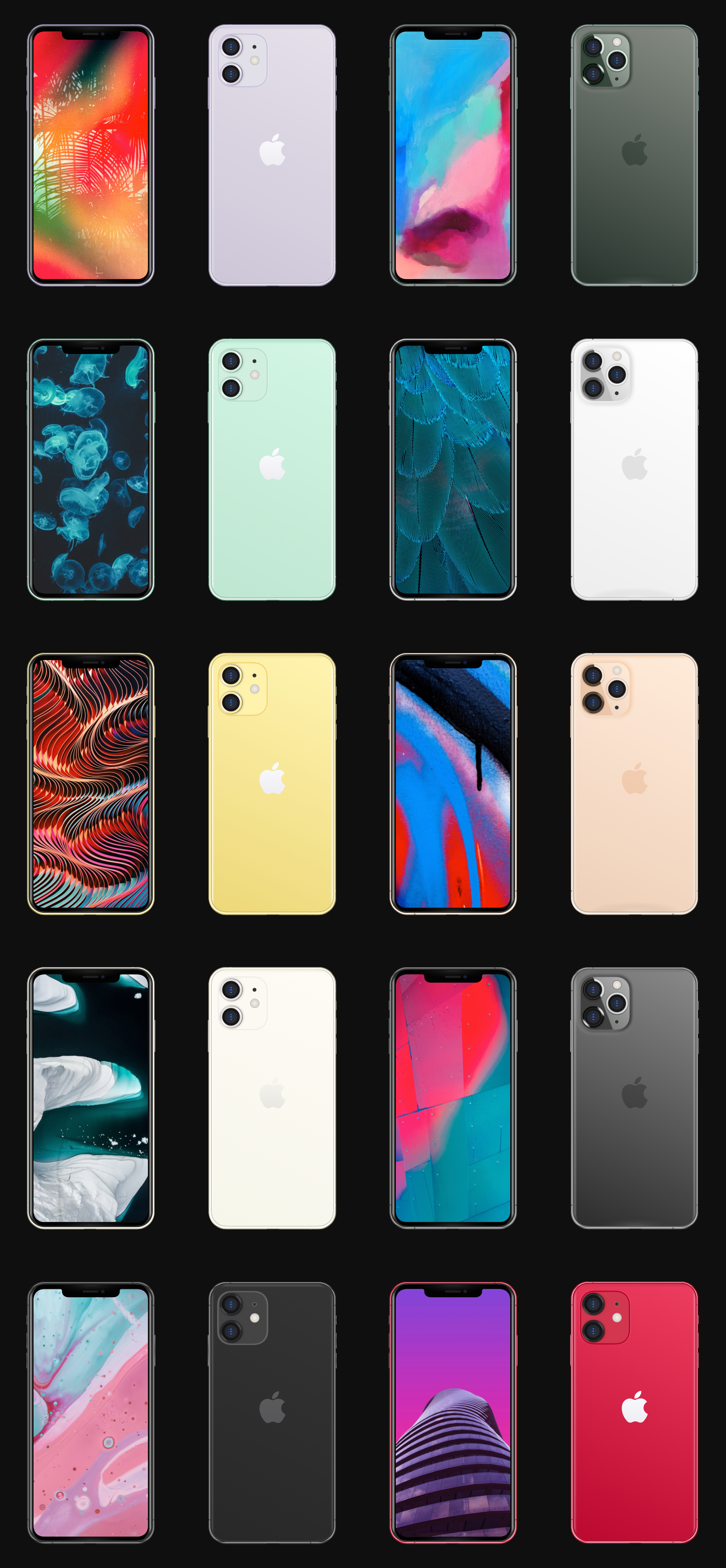 iPhone 11 Mockups for Sketch - iPhone 11 + iPhone 11 Pro. 10 variants
