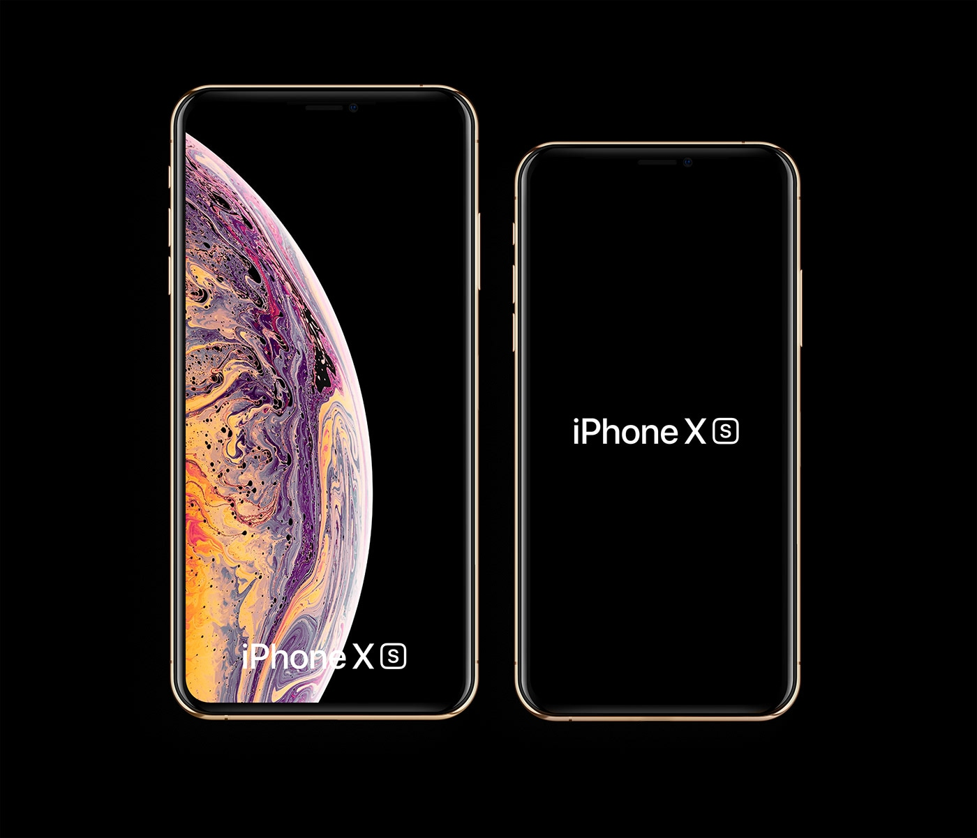 iPhone Xs and iPhone Xs Max Mockups - Changeable colors. Space Gray, Gold, Silver, White Clay, Black Clay