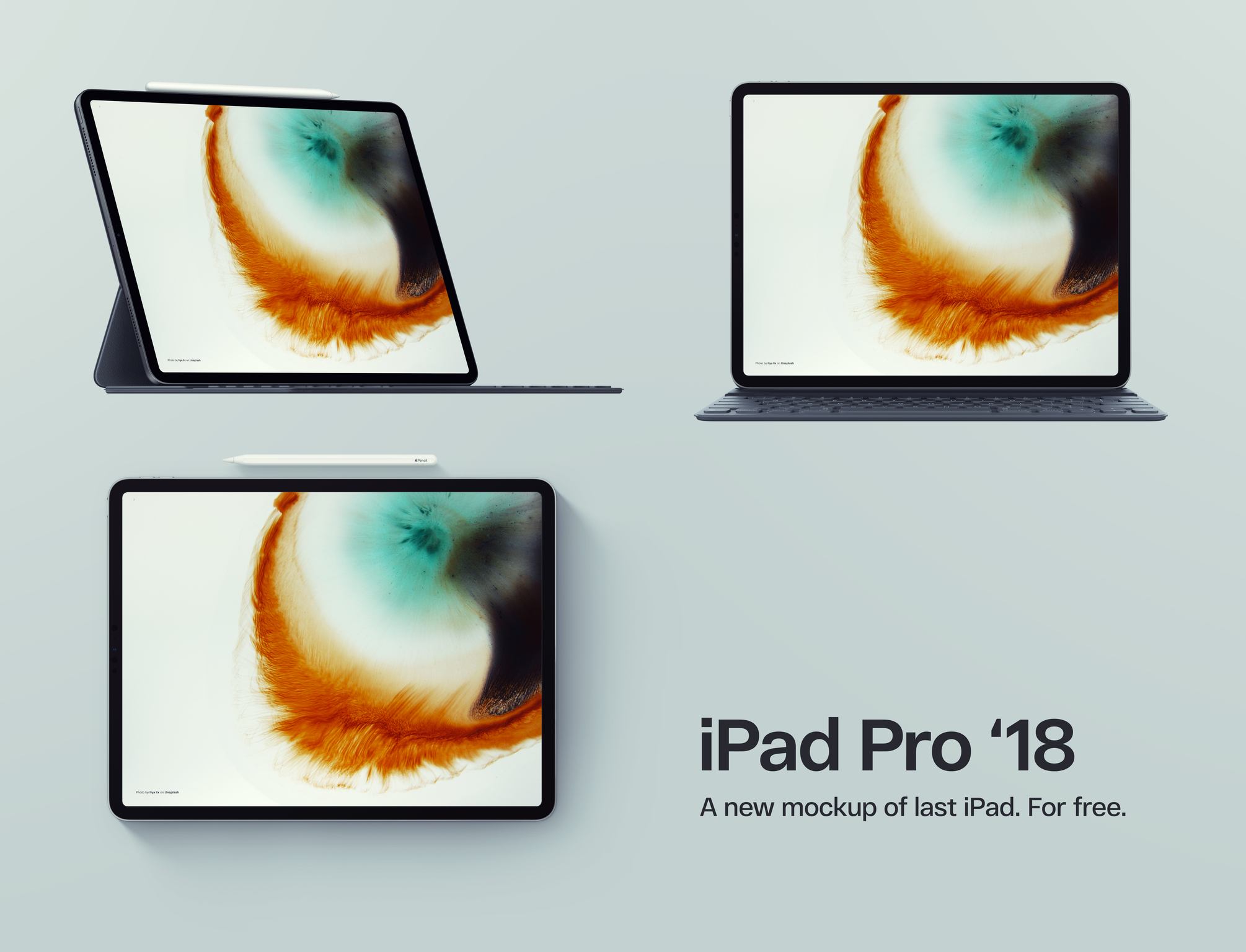 Ipad Pro 2018 Free Psd Mockups - 3 iPad Pro 2018 mockups available to download for free in Photoshop PSD format. Freebie designed by Arlekino